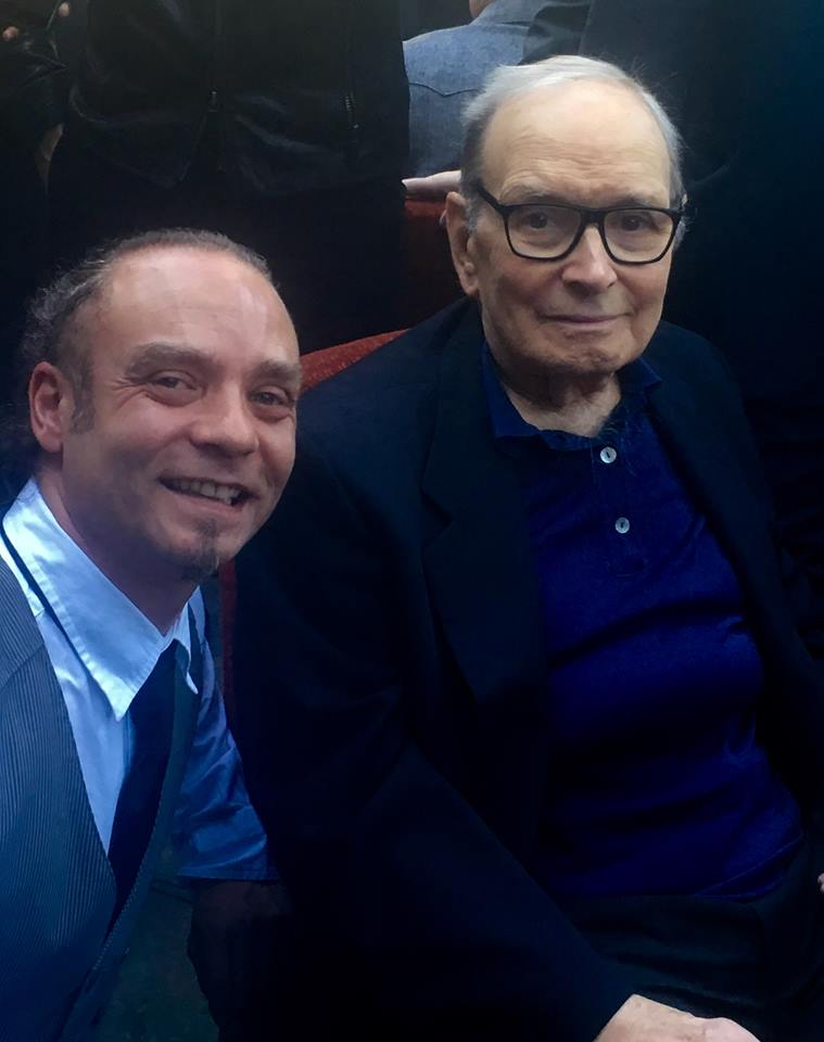 With Ennio Morricone at the SCL event , 2016 (the day before the Maestro received the Oscar Award