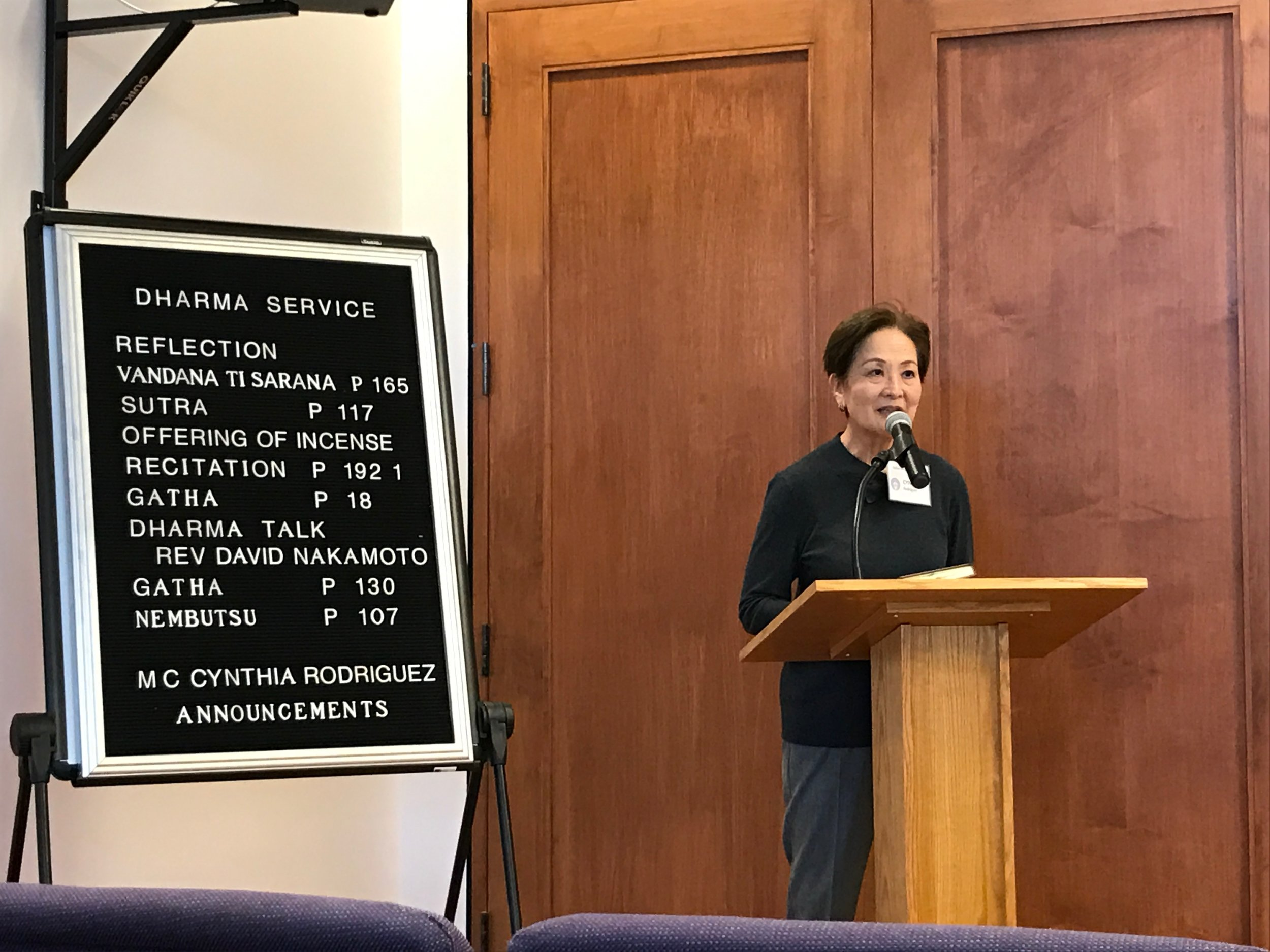 M.C. Cynthia Rodriguez begins the service
