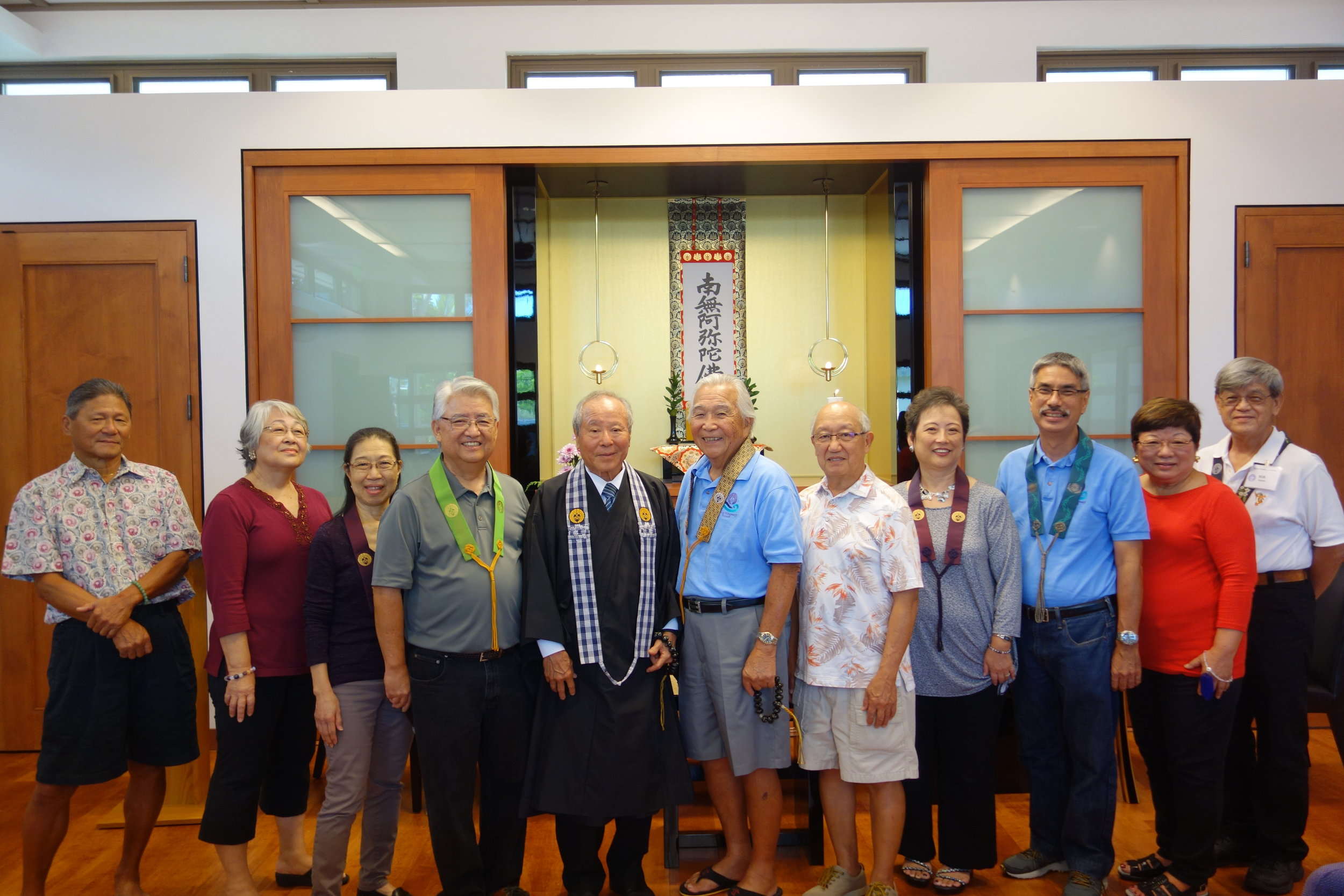 From left to right: Gary Yamamoto, Jean Fukumoto, Joyce Nishita, Dennis Tashiro, Rev. David Nakamoto, Keiji Kukino, Allen Kusano, Merle Tashiro, Gerald Matsuda, Prudence Kusano, Bob Nishita. Not pictured: Joy Nishida