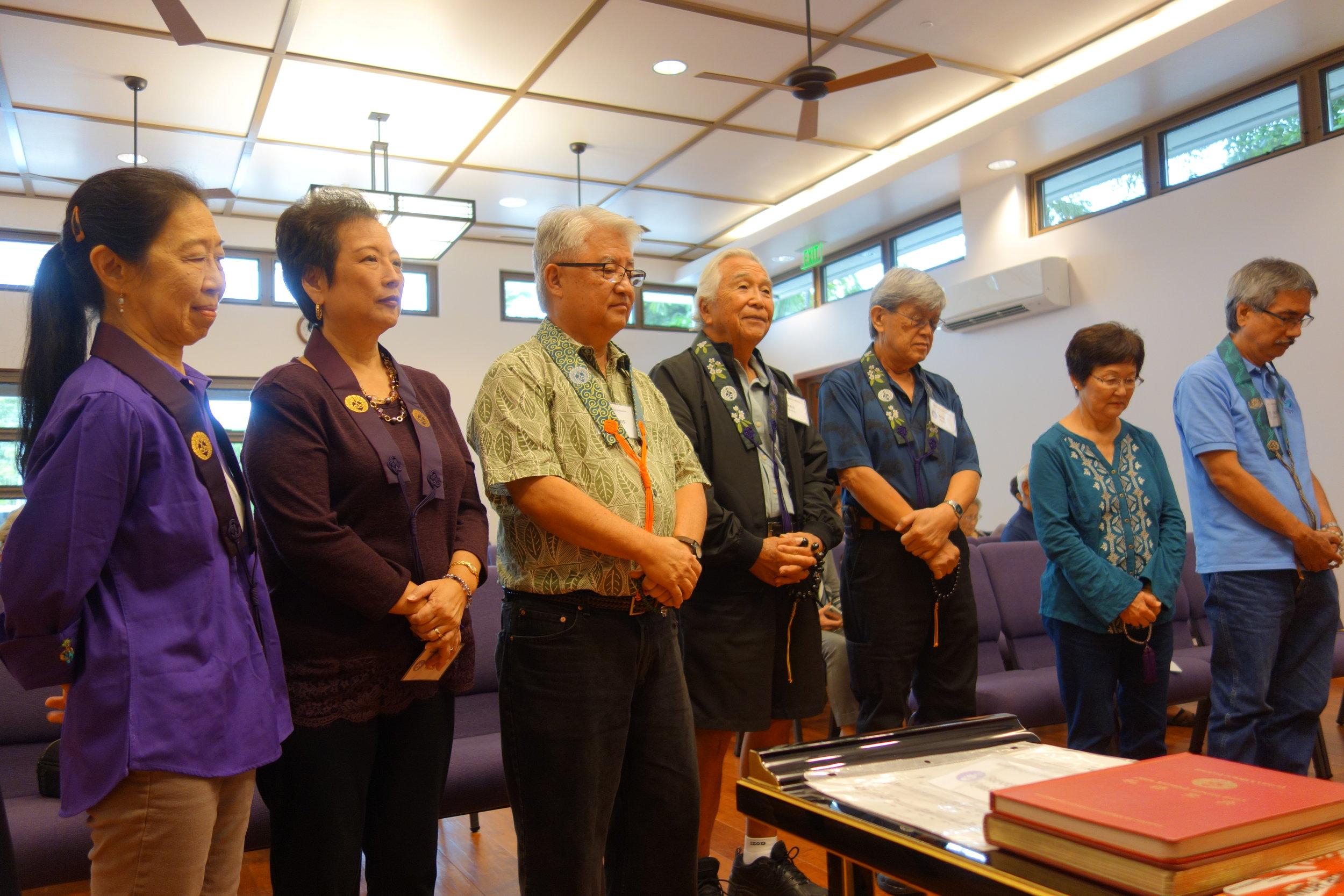 From left to right: Joyce Nishita, Merle Tashiro, Dennis Tashiro, Keiji Kukino, Bob Nishita, Geraldine Ochikubo, Gerald Matsuda.
