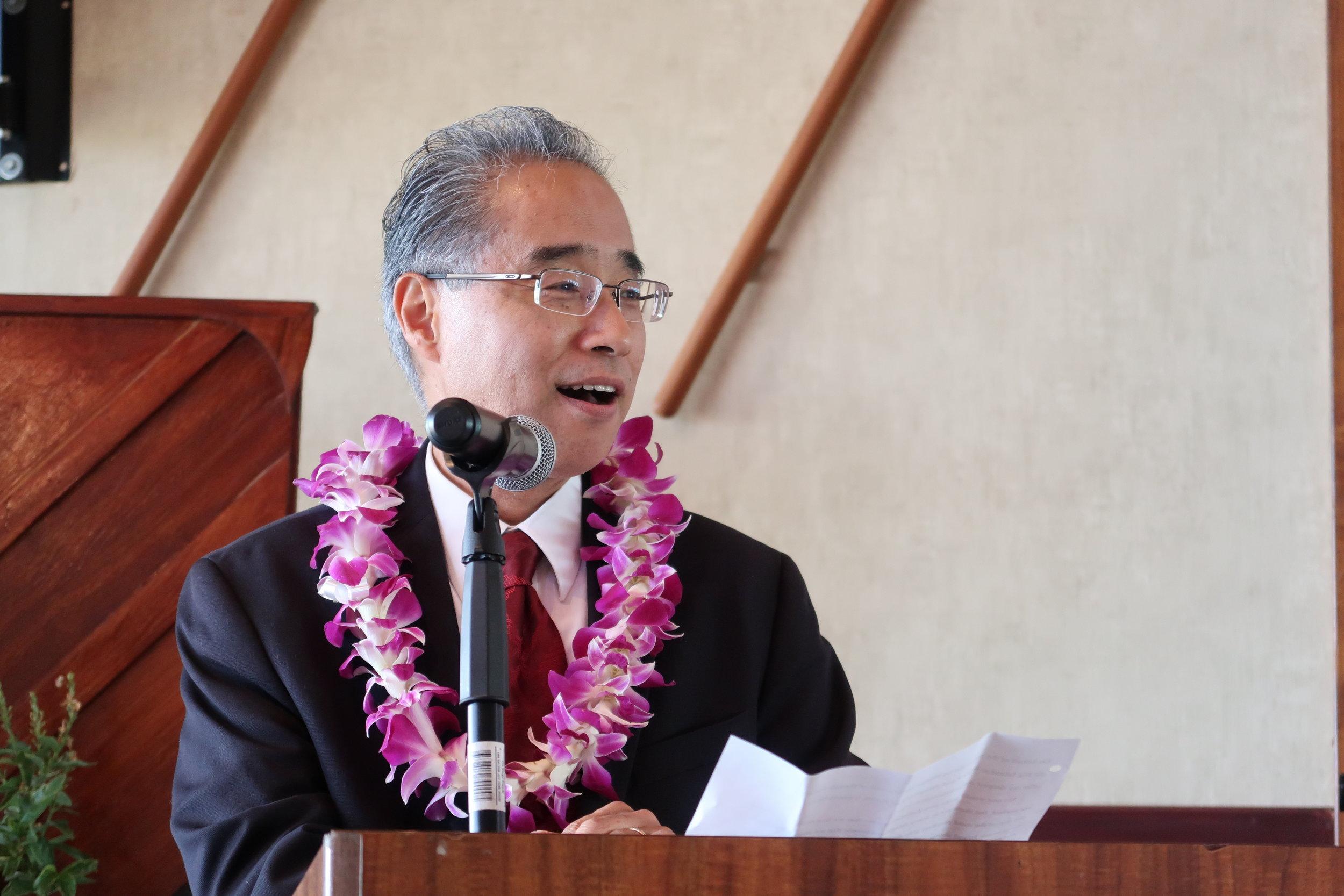 Bishop Eric Matsumoto gives his congratulatory message