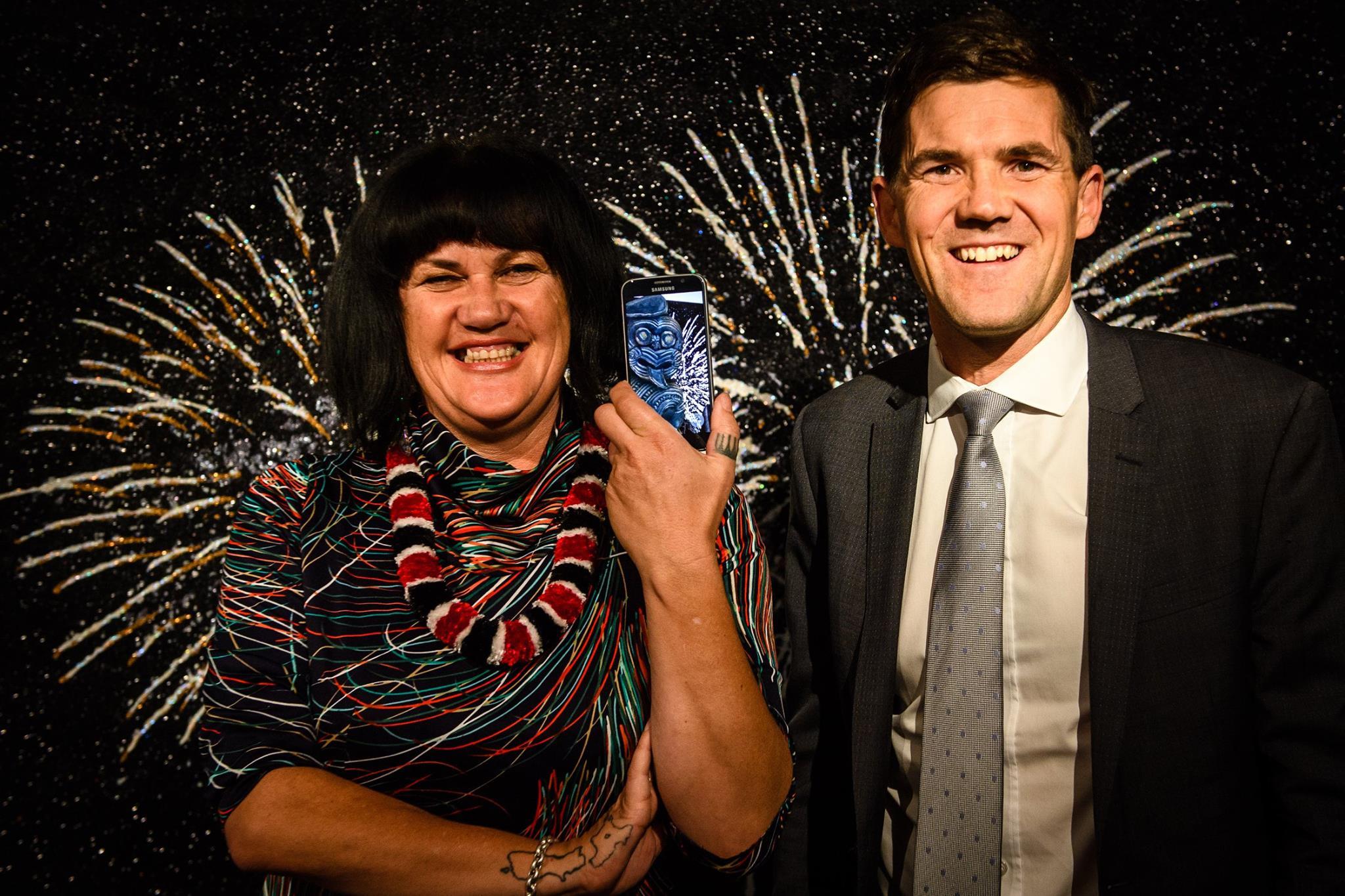 Suzanne Tamaki & Wellington Mayor Justin Lester with the Toi App...