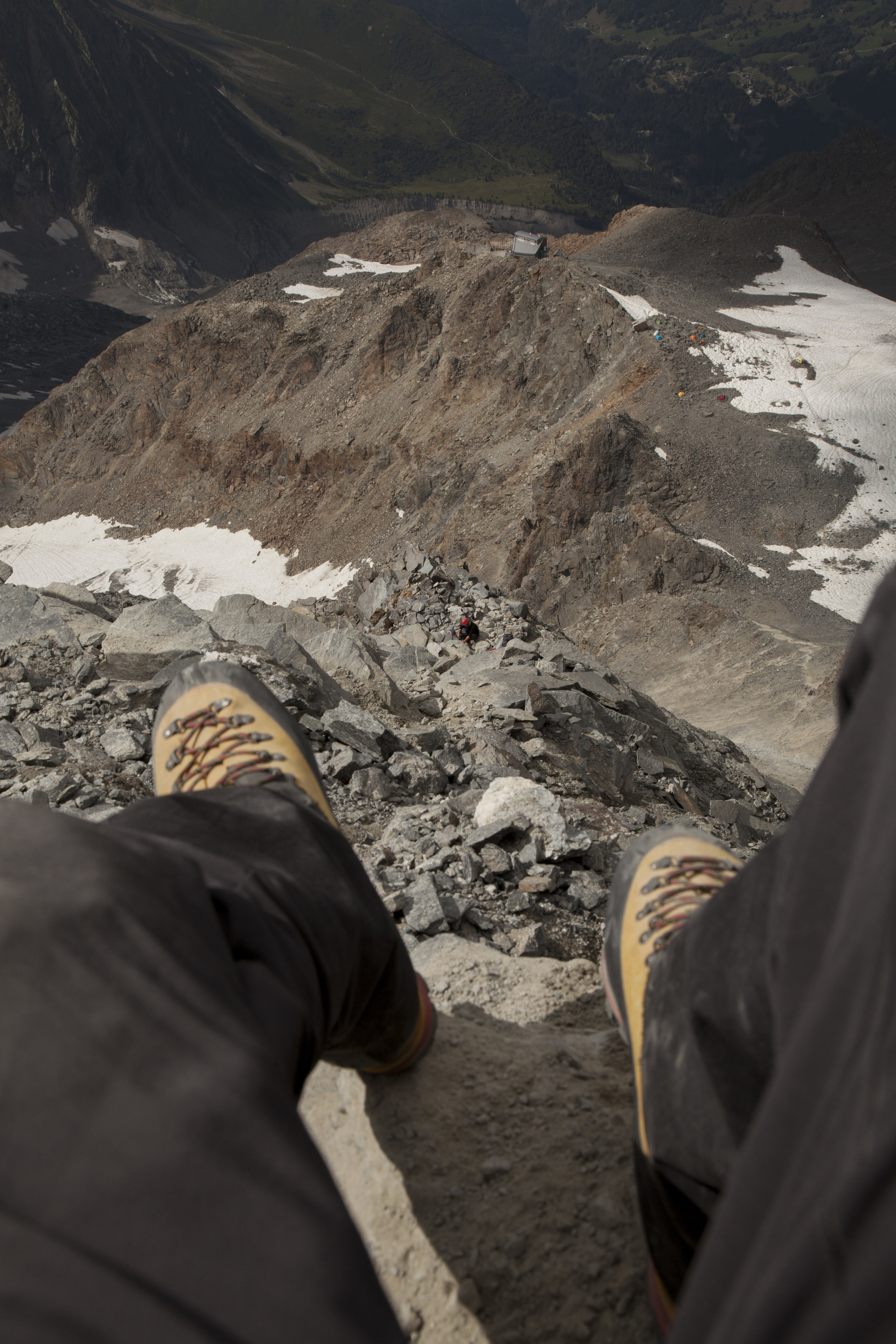 Looking down into the Grand Couloir.
