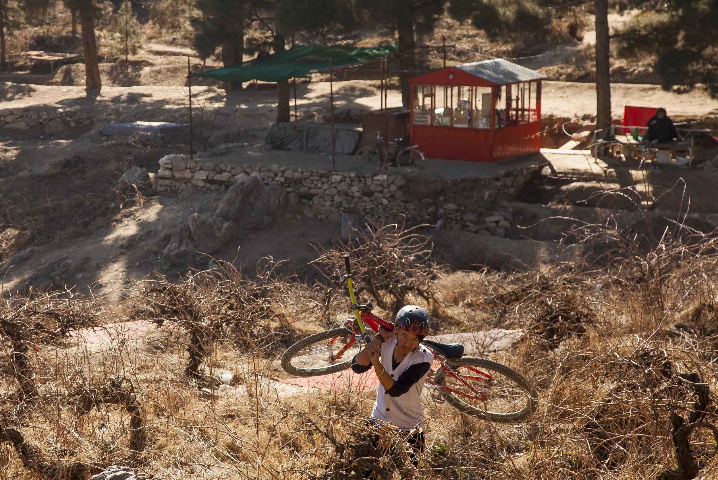 Mountain biker in Kabul, Afghanistan.
