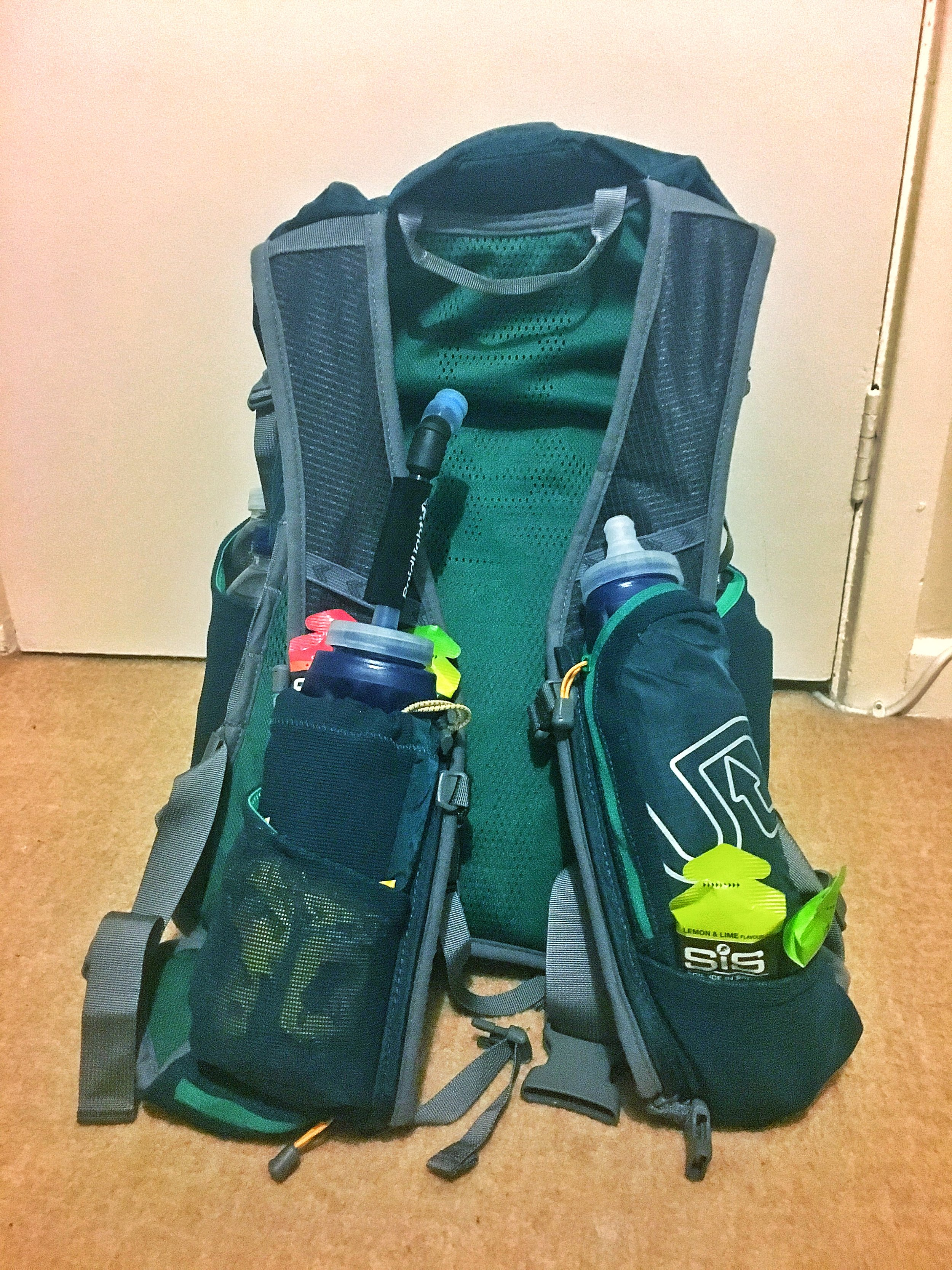 My bag during one of the South Downs training runs (not with the front pack on)