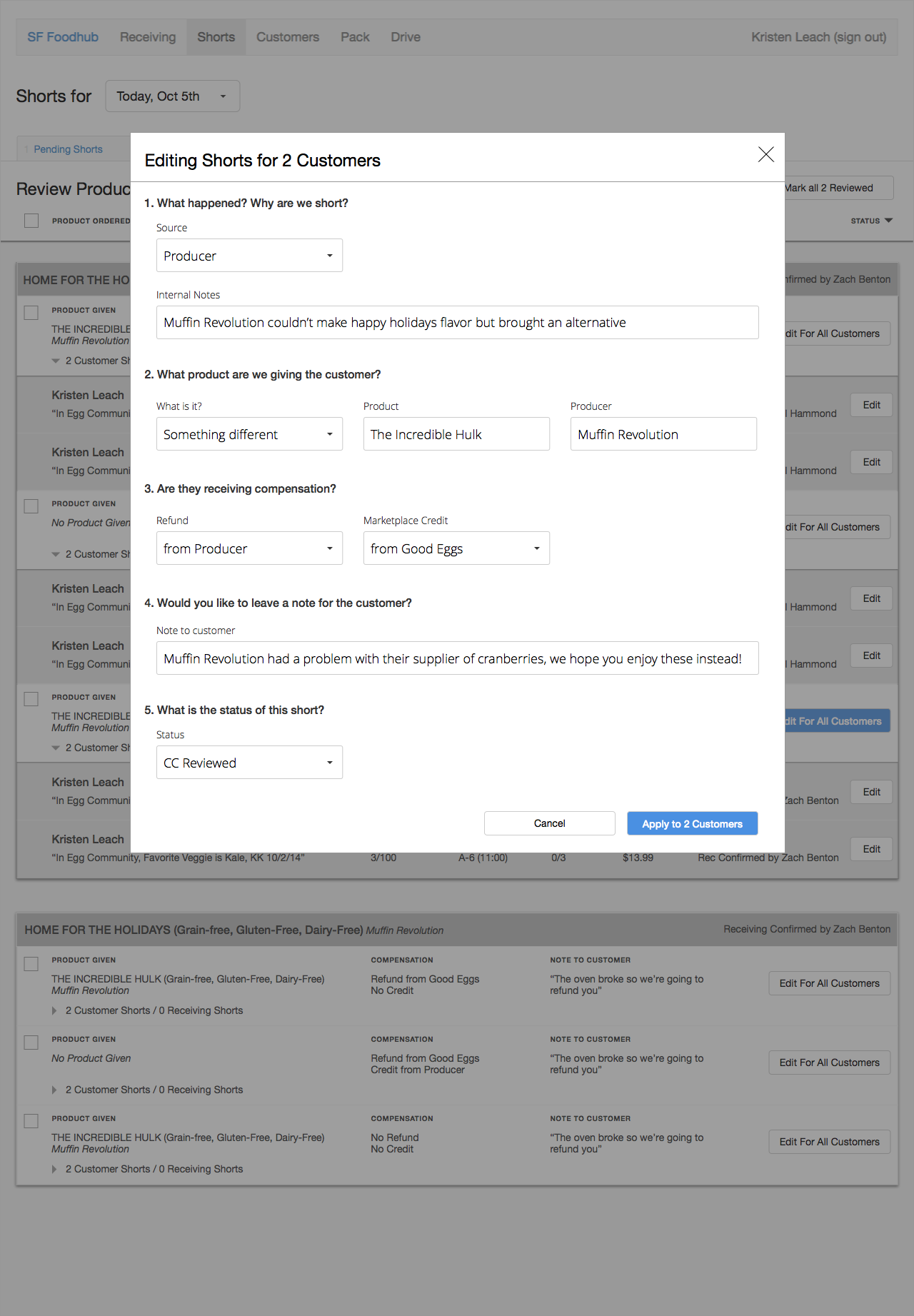 Form capturing information to appear in customer email
