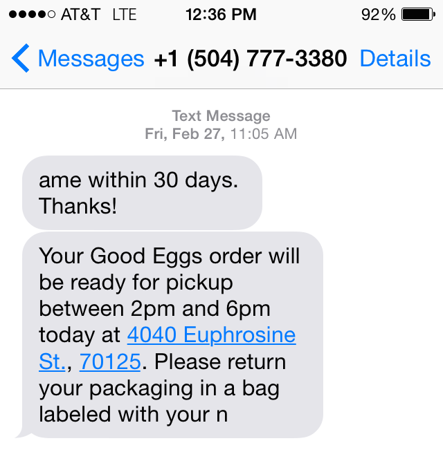 Rogue SMS from New Orleans operation