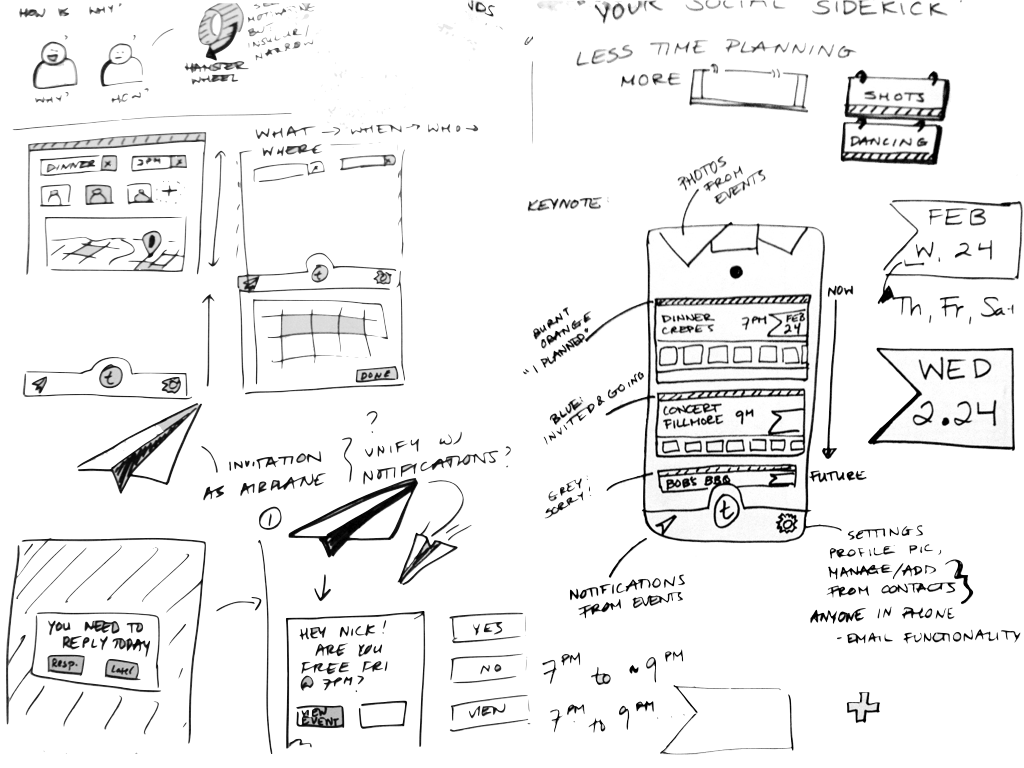Sample sketches of interface/feature explorations