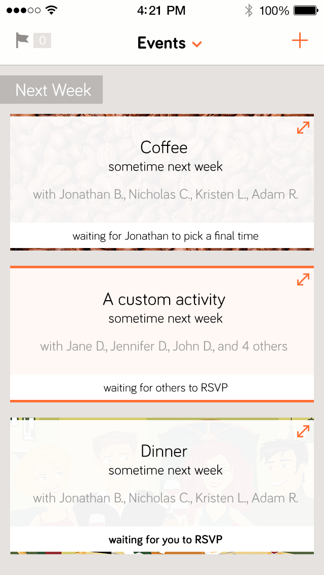 Updated design for upcoming events feed