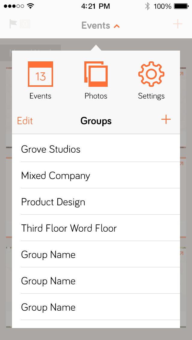 Updated menu to manage social groups