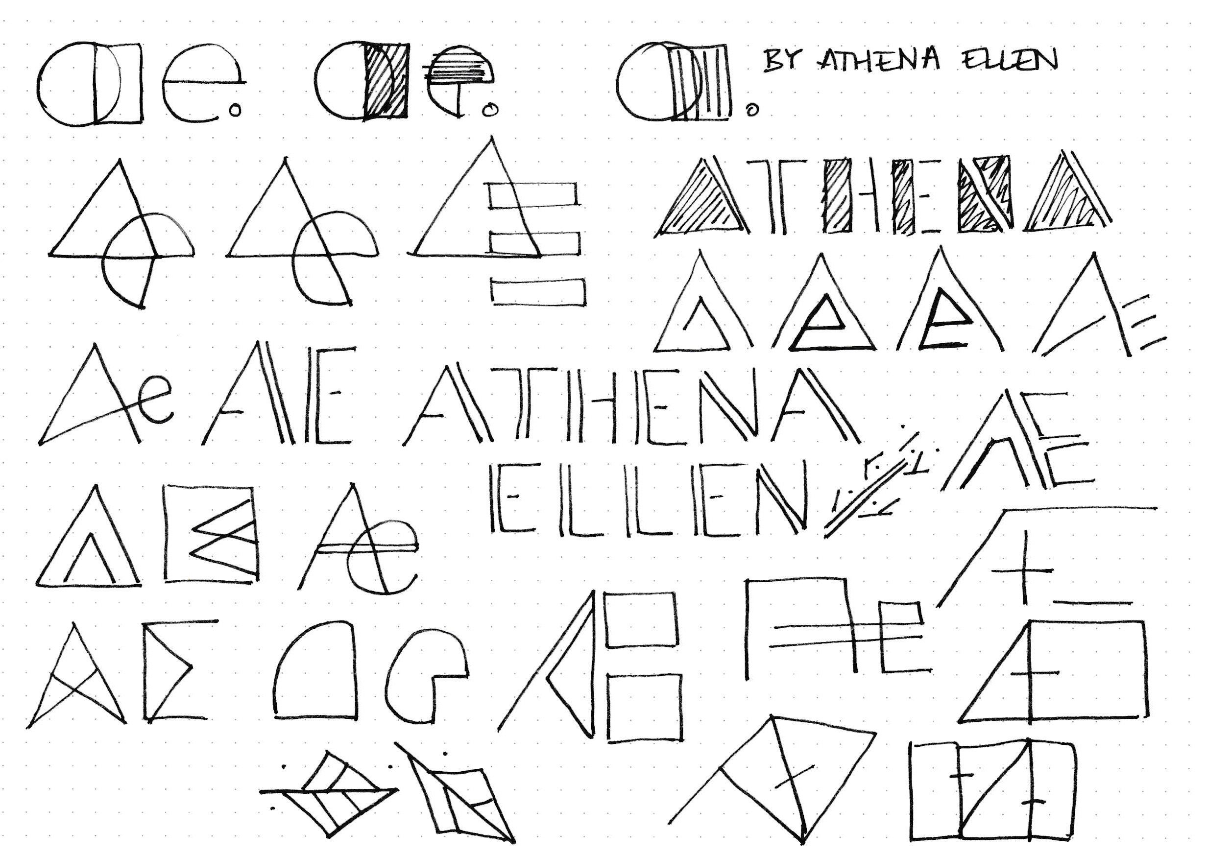 Early sketching exploring geometric, thin stroke styles