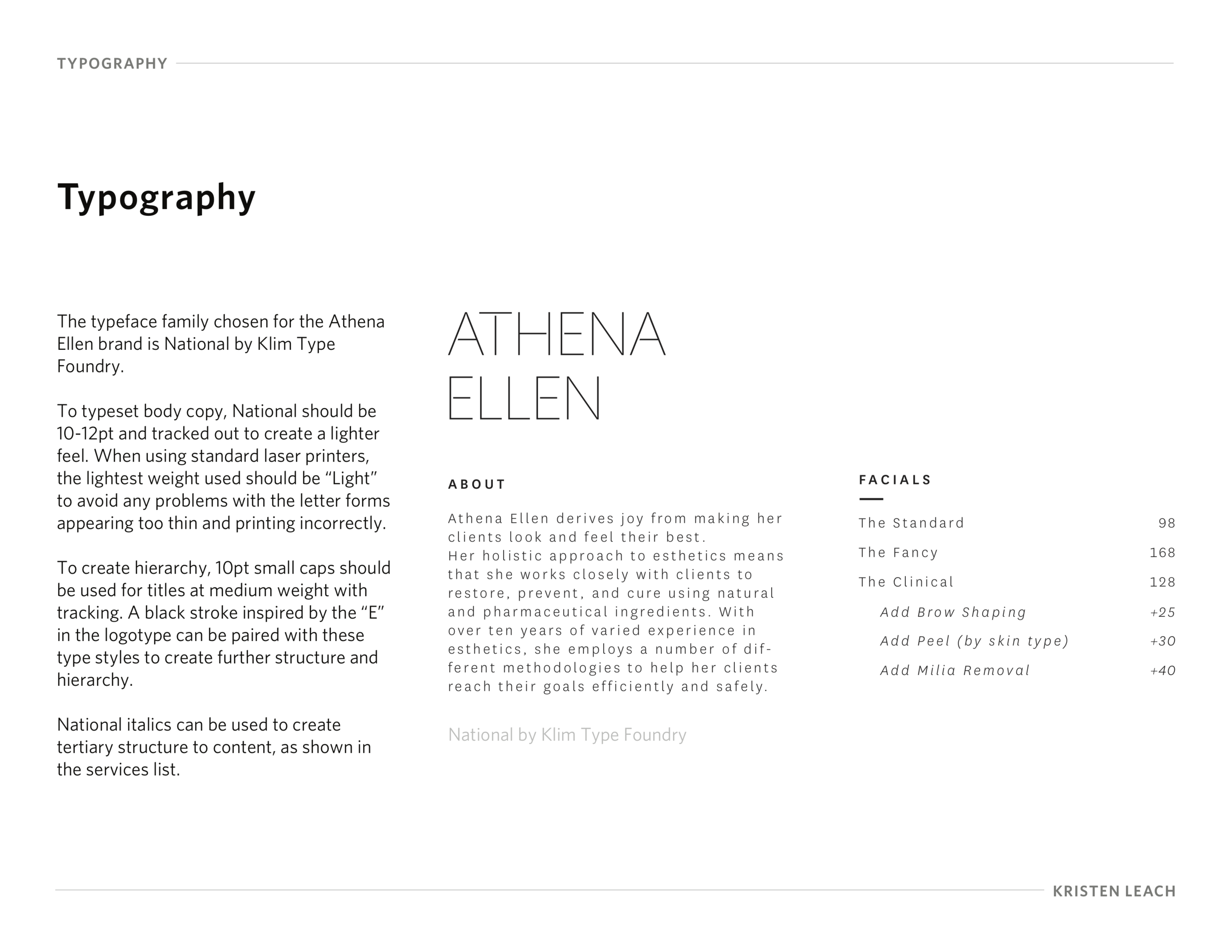 Typography style guidelines and final logotype