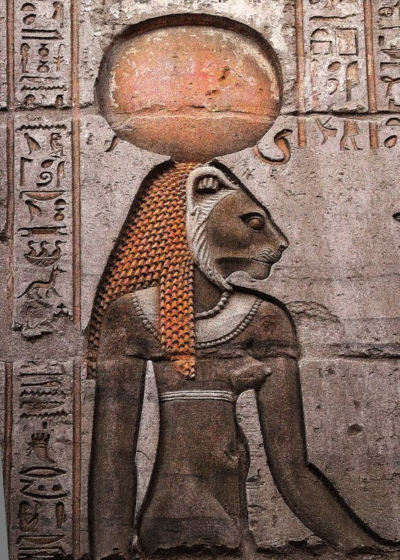 Sekhmet, from wall of Kom Ombo Temple, Egypt   (Image sourced from Pinterest)