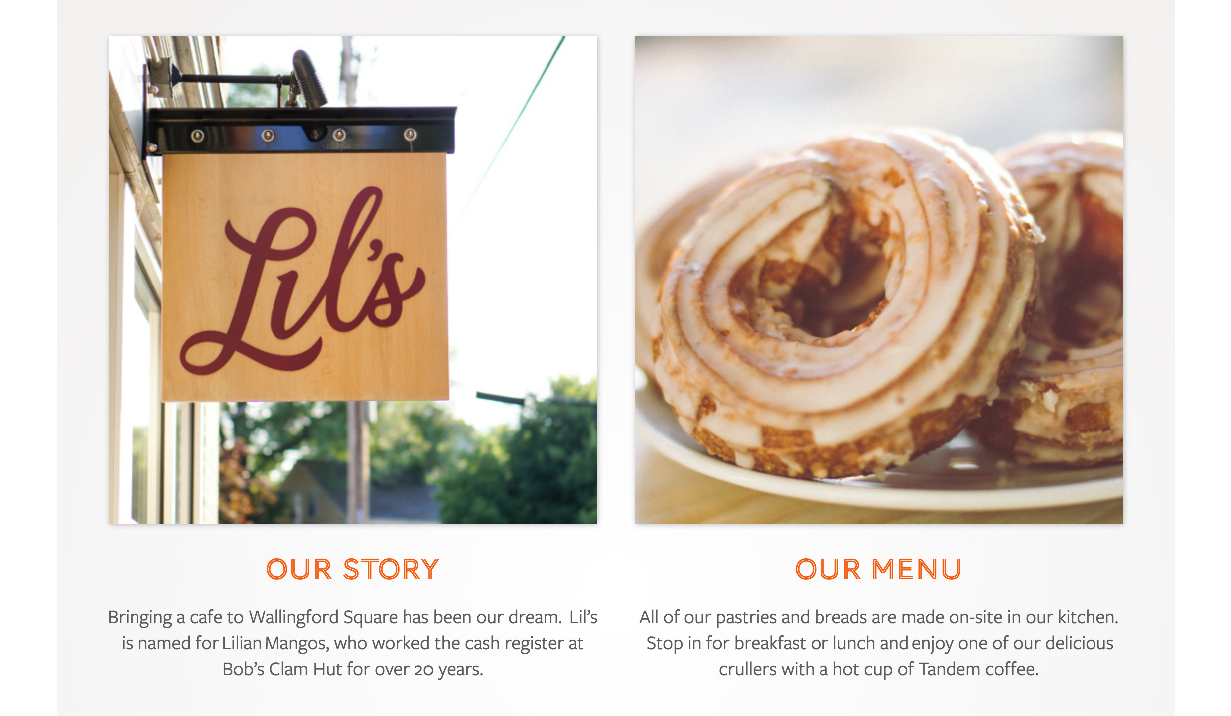 Lil's Cafe homepage scroll down after