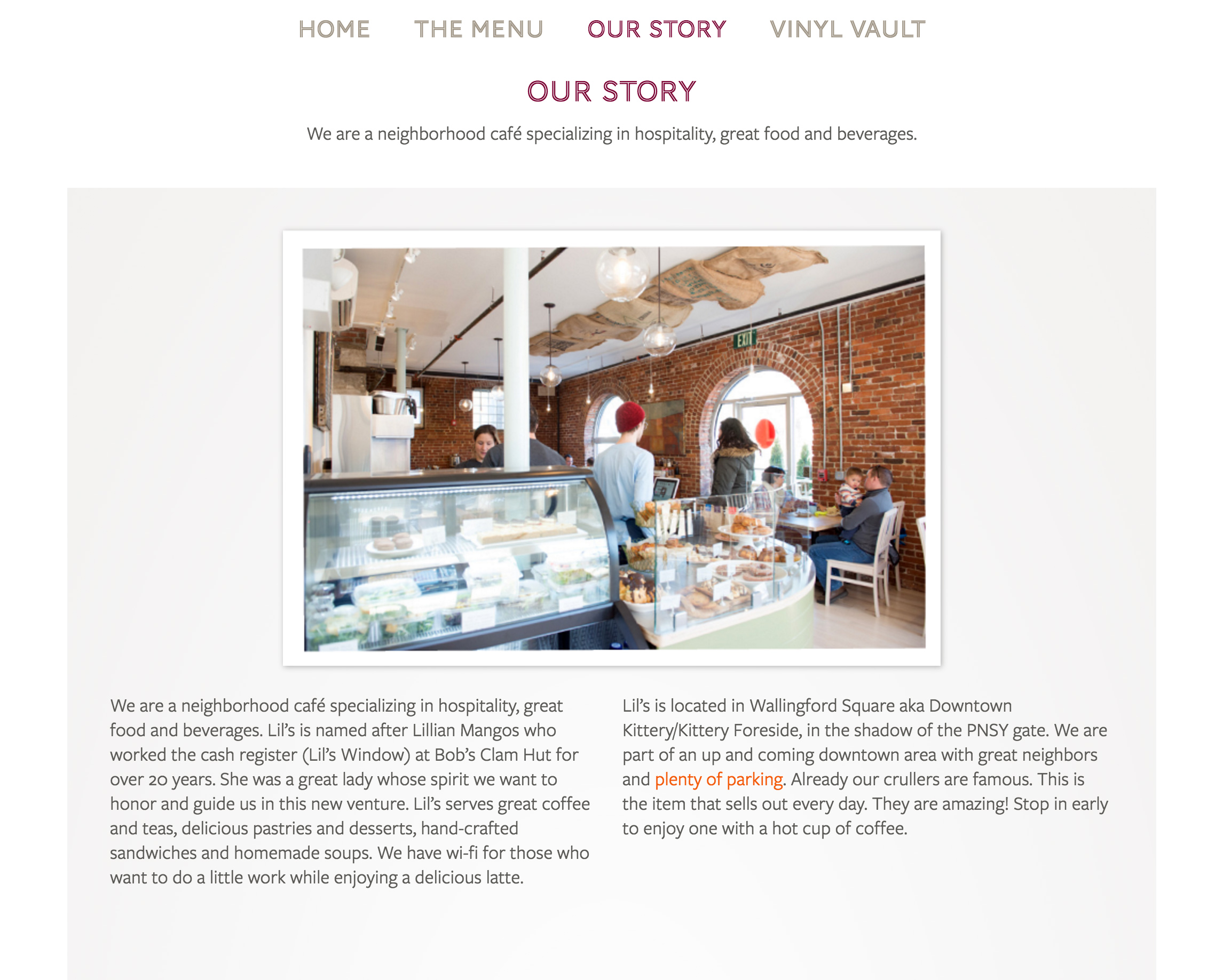 Lil's Cafe Story page before