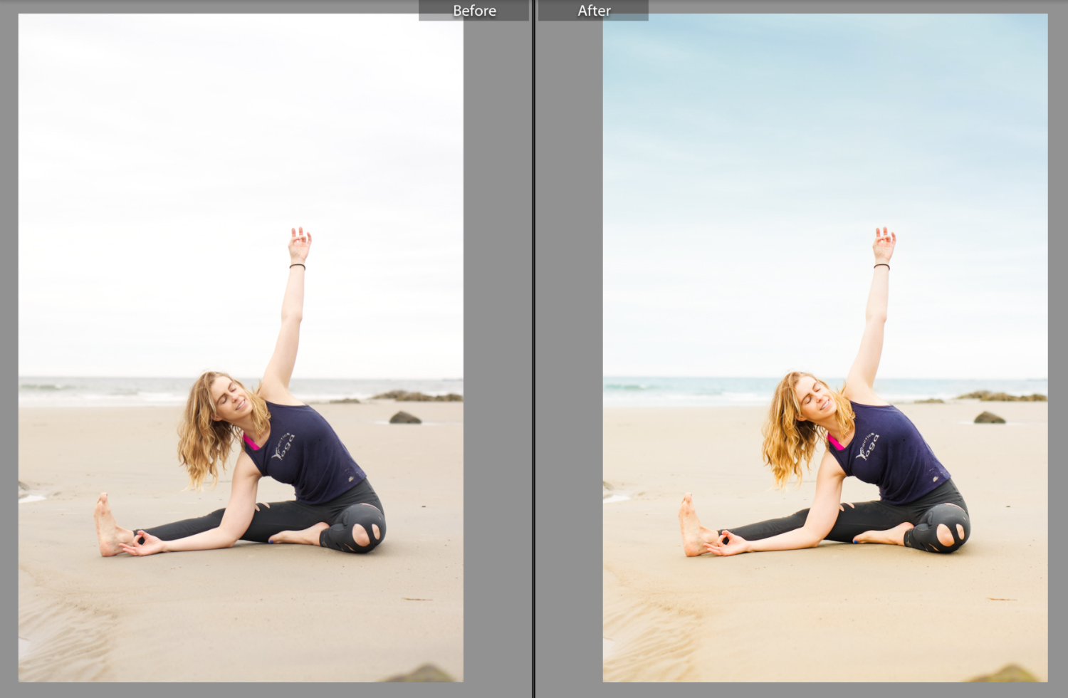 An early-morning beach shoot on a rainy day was intended to advertise a retreat in Costa Rica. Had to get creative in the editing process!