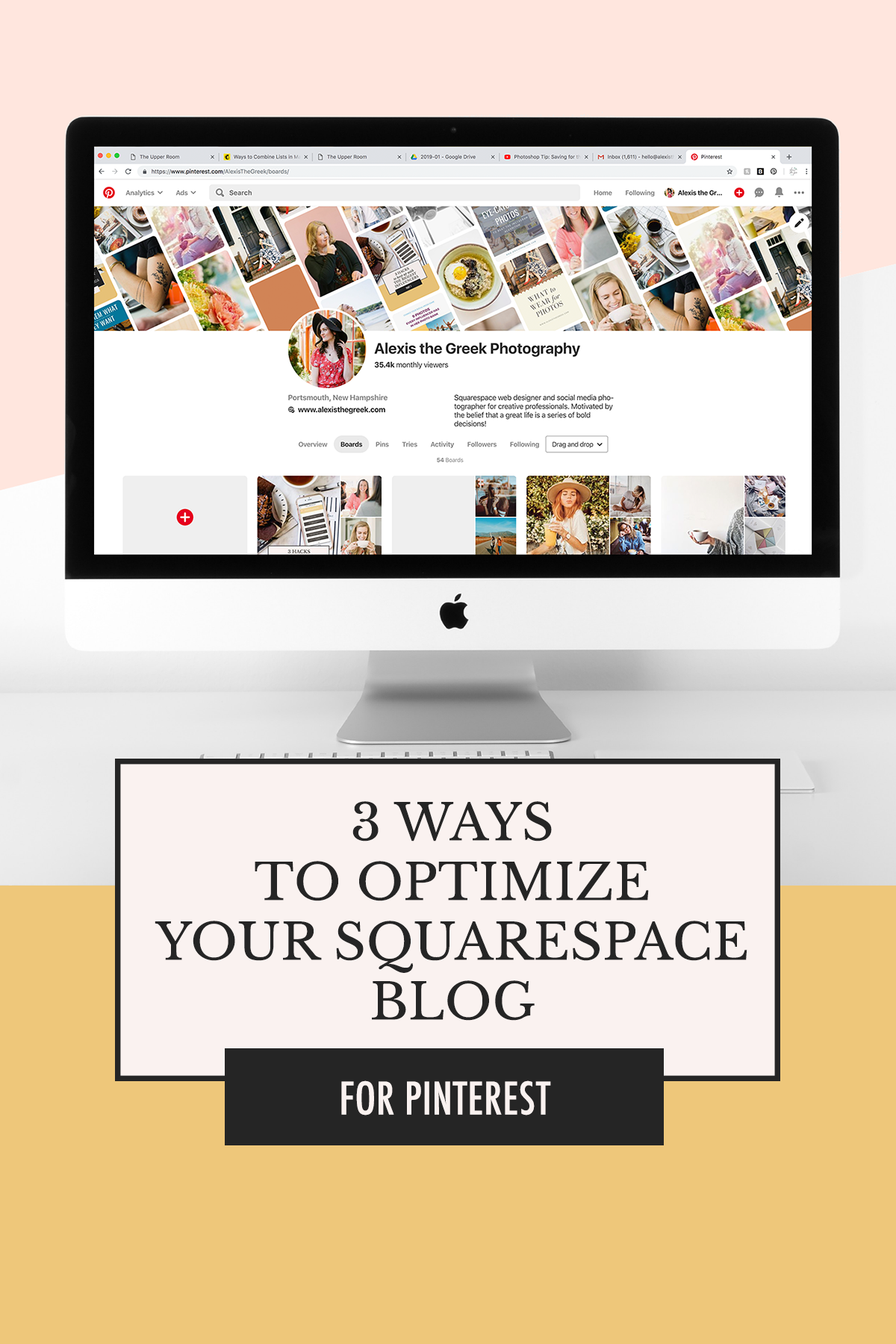 Pinterest Strategy Basics: 3 Ways to Optimize Your Squarespace Blog Images without Tailwind | Alexis the Greek blog