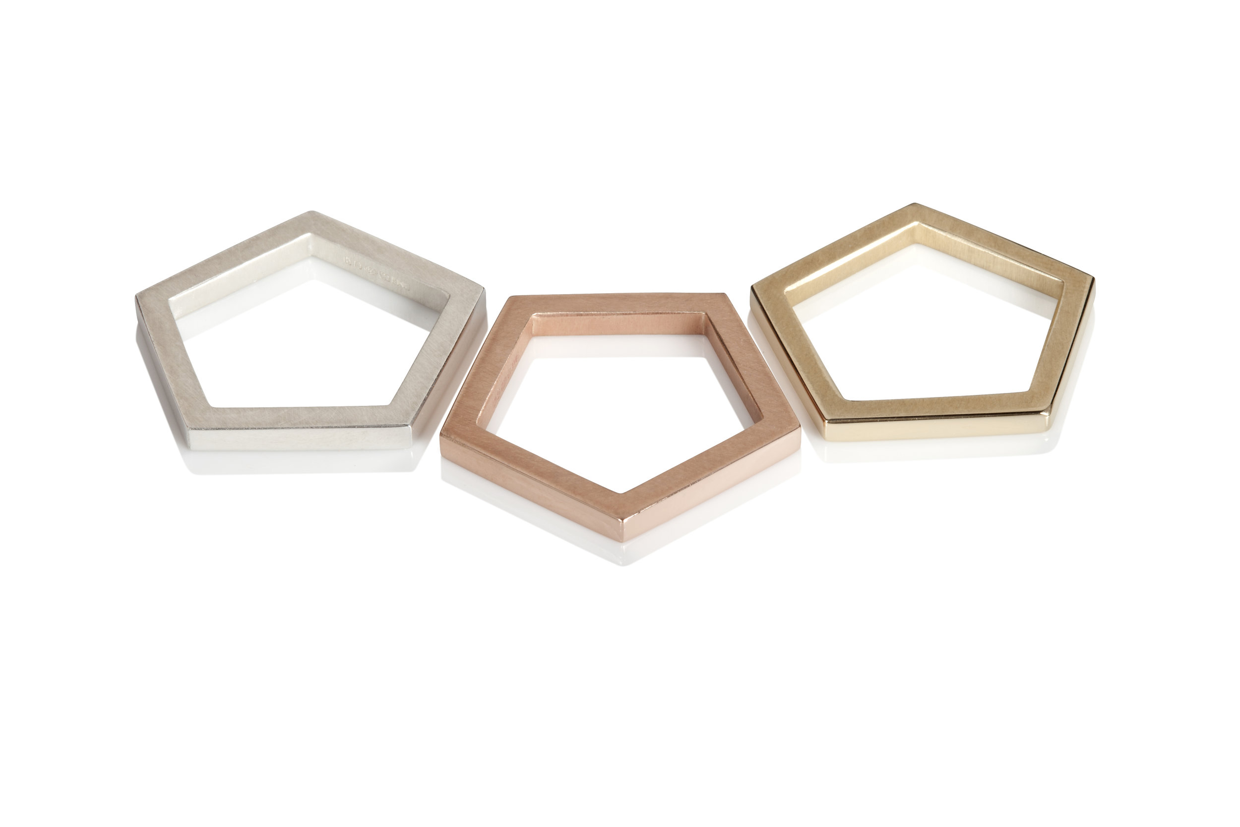 Silver, rose and yellow gold pentagon rings