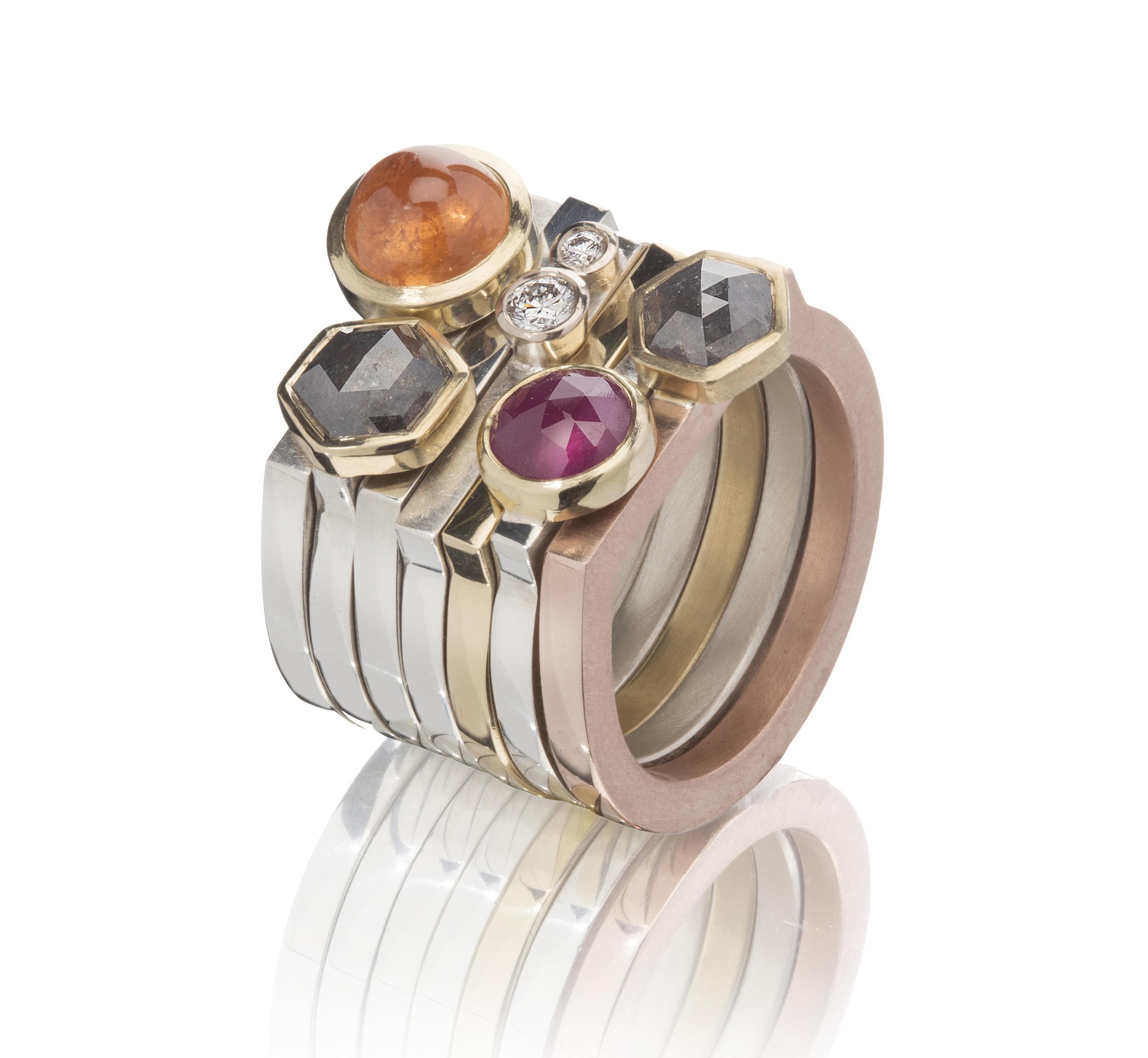 Diamond, ruby, mandarin garnet notch rings