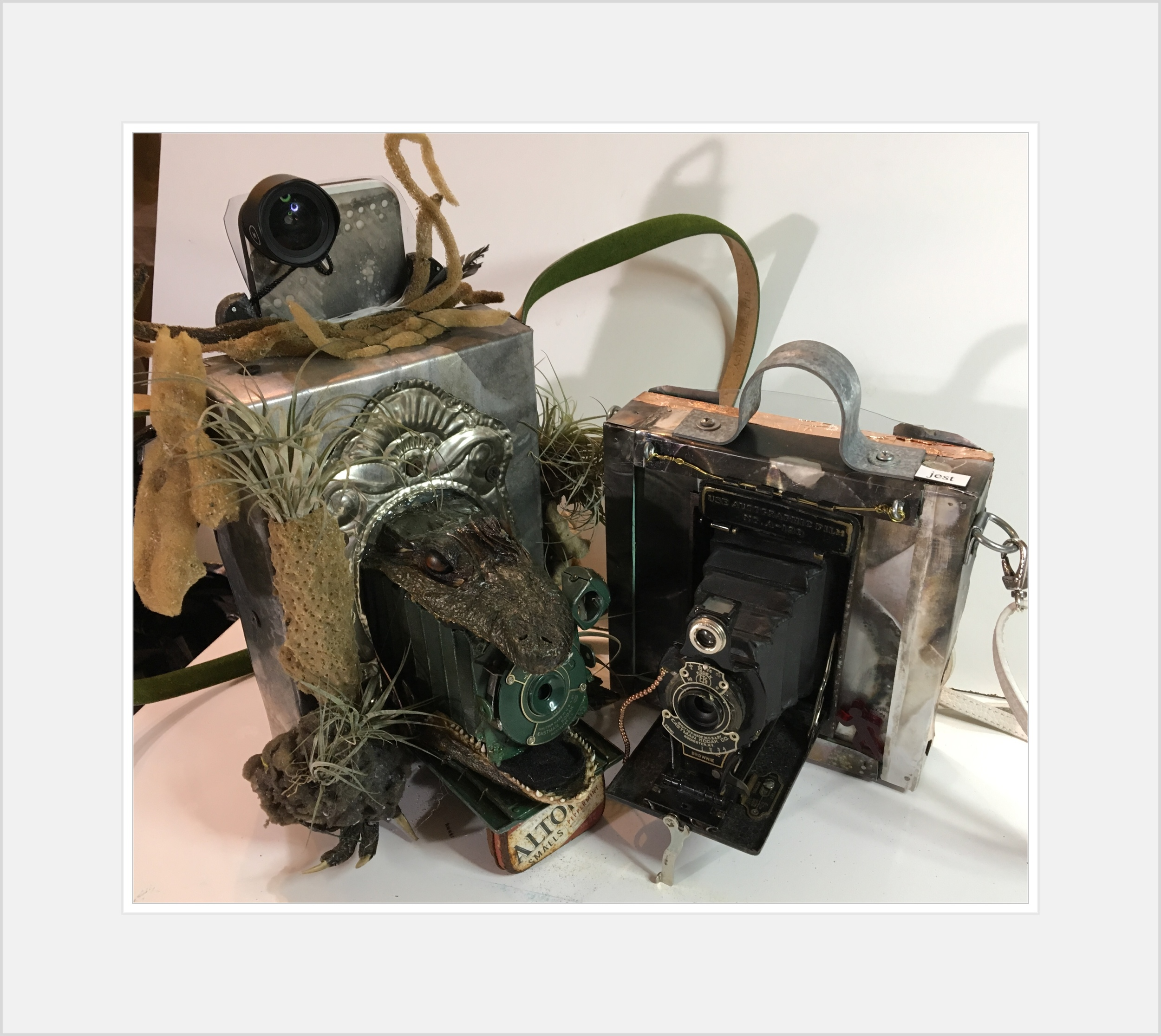 SWAMPCAM #6 and BONNYCAM #5. Only non functional camera parts are used.. Original patina aluminum plates cover a wooden box. There is a space built in to hide the Iphones..
