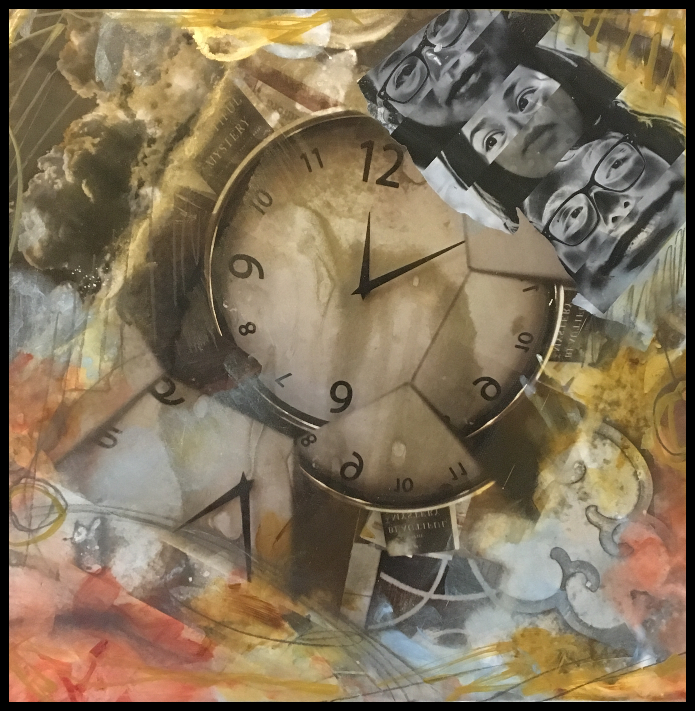 About Time, altered images, archival pigment on patina aluminum ,mixed media,© CE, 2016