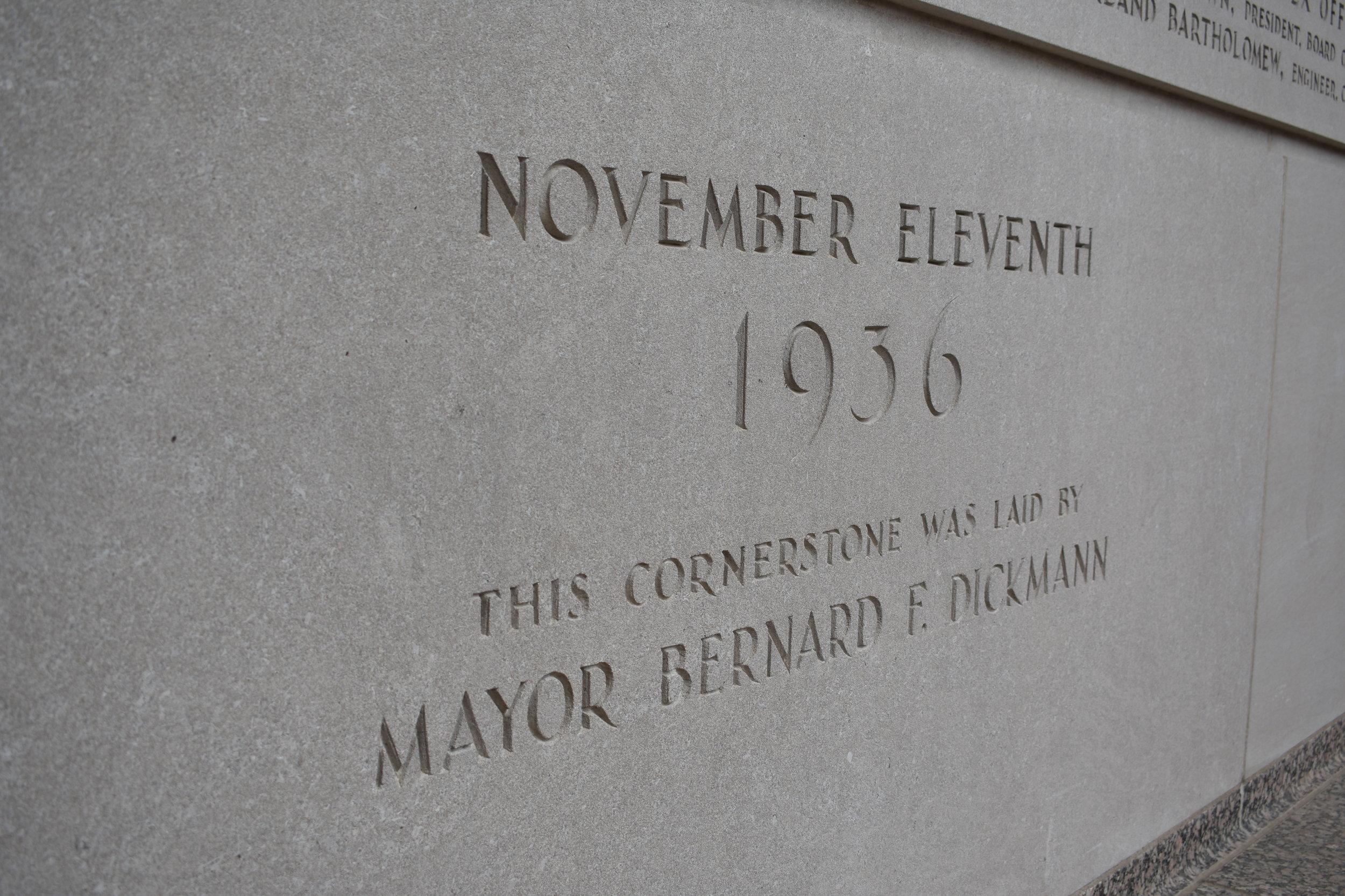 Soldiers Memorial - Cornerstone
