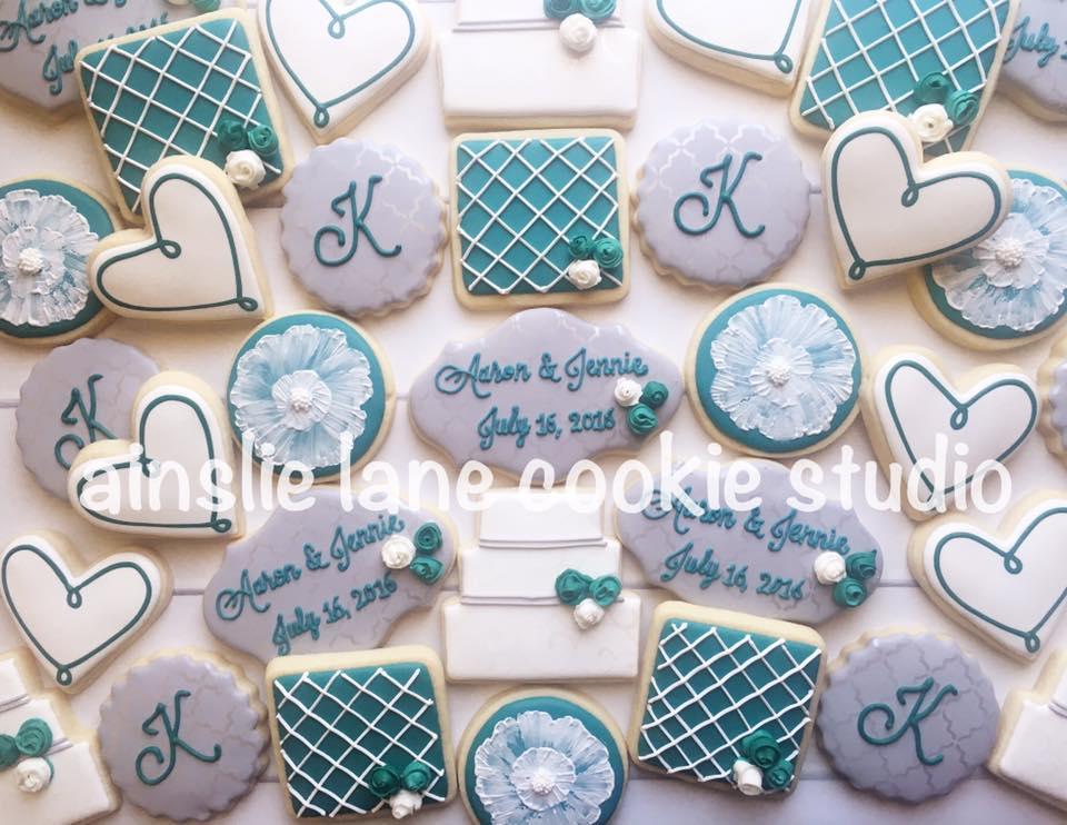custom wedding cookies for a dessert table
