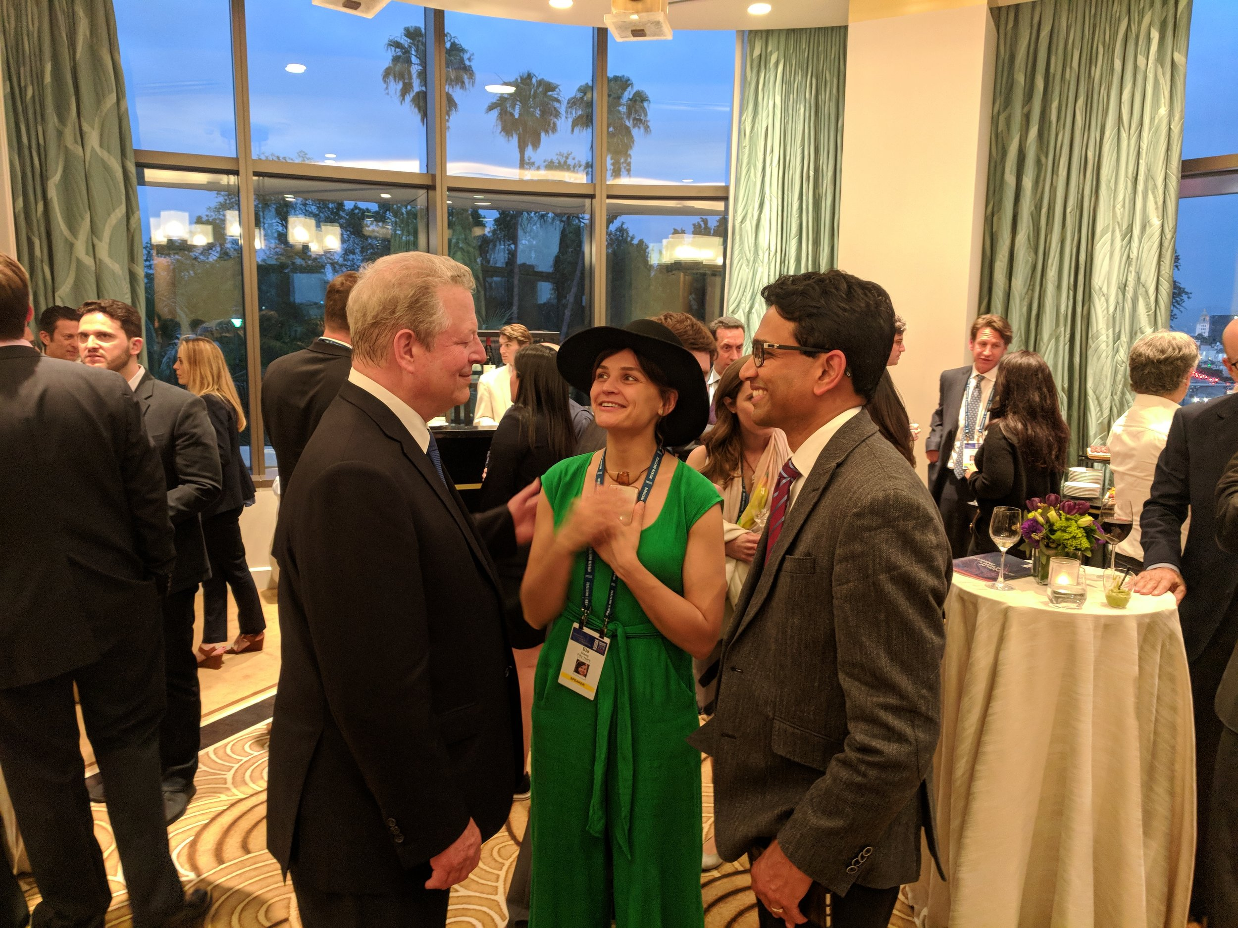 Ela, Al Gore, and Uma Valeti, the founder of Memphis Meats in Milken Global Conference    Learn more about this event →