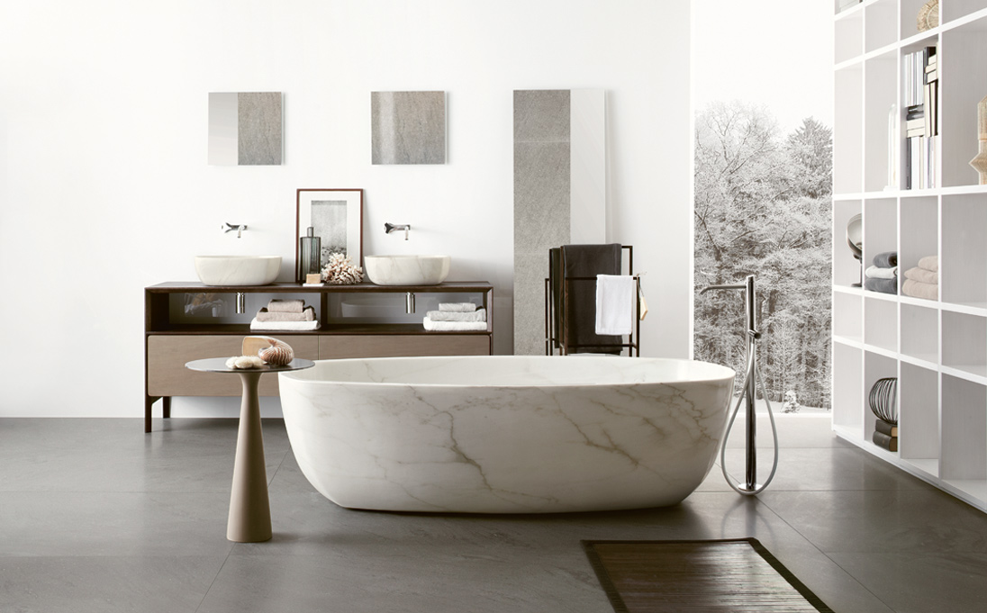 Foreground: Inkstone Bathtub & Leaf Small Table;   Background: Neos Furnishing & Inkstone 04 Sinks  -  Inquire
