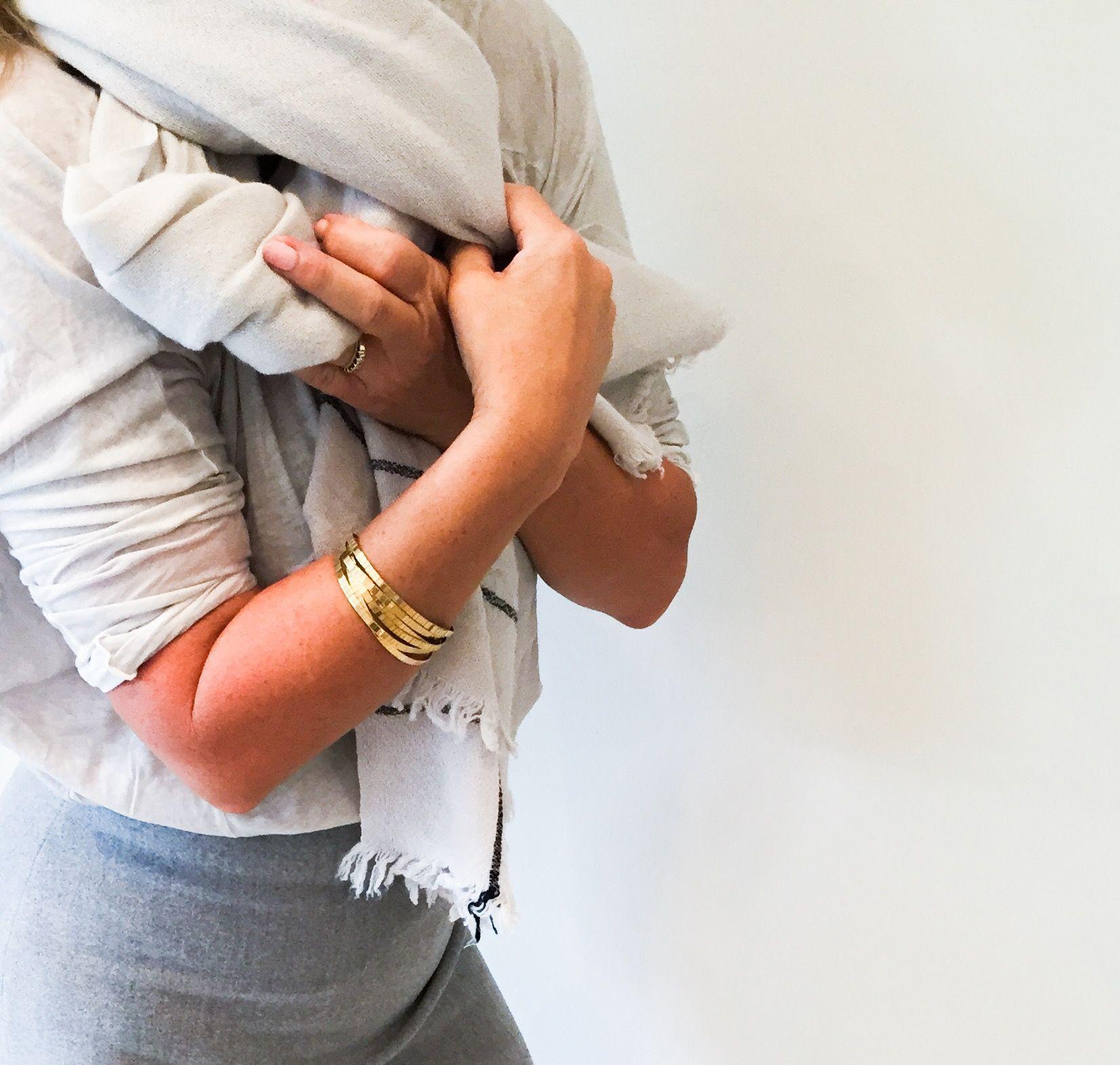 White Stripe Cashmere Scarf  - Inquire
