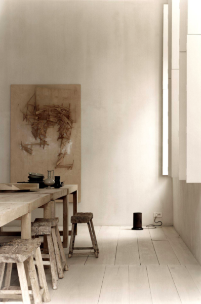 Left: Atelier Table; Right: Indoor Uplighter  -  Inquire