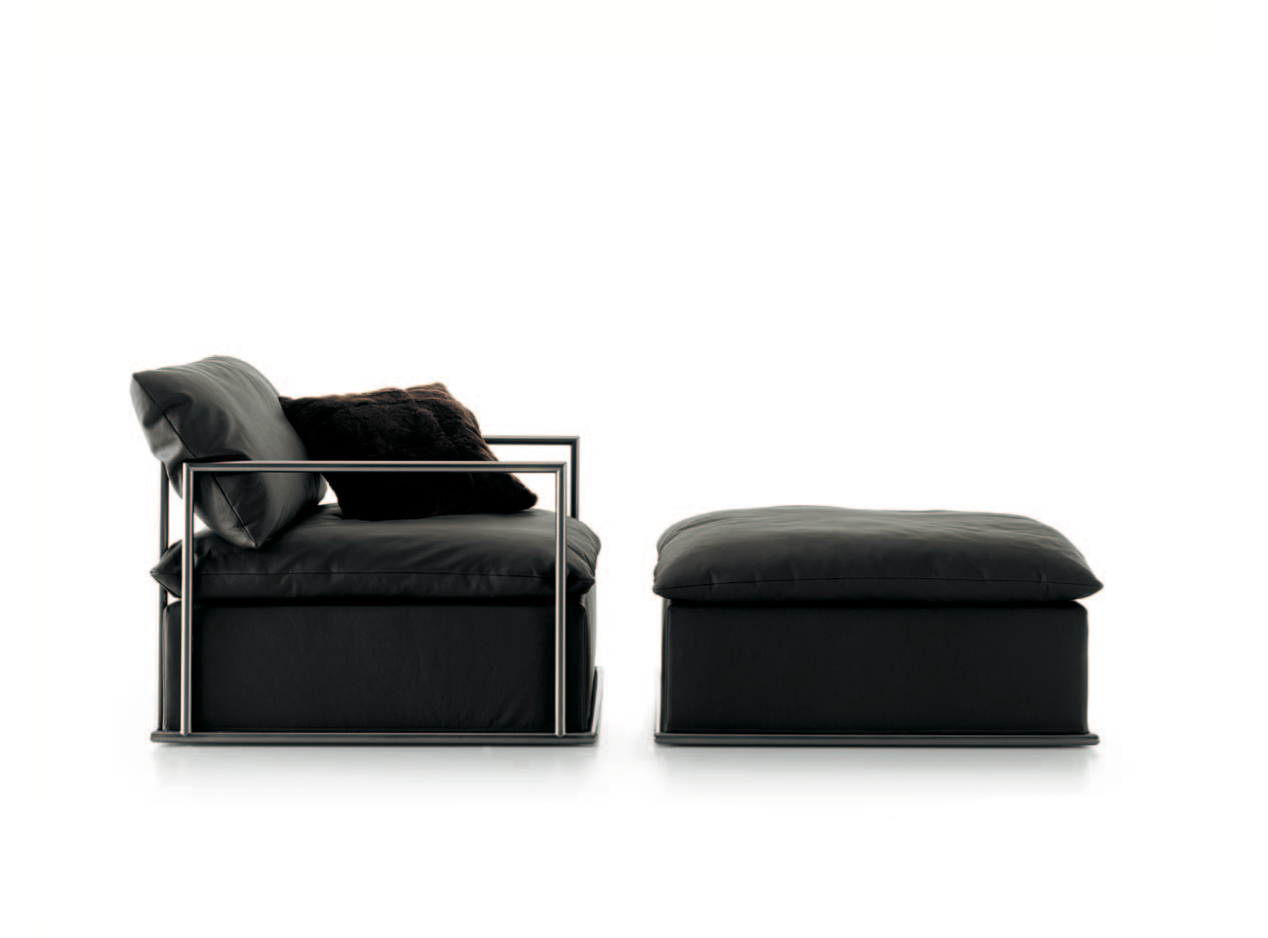 Celine Sofa remodeled into armchair and pouffe set  -  Inquire