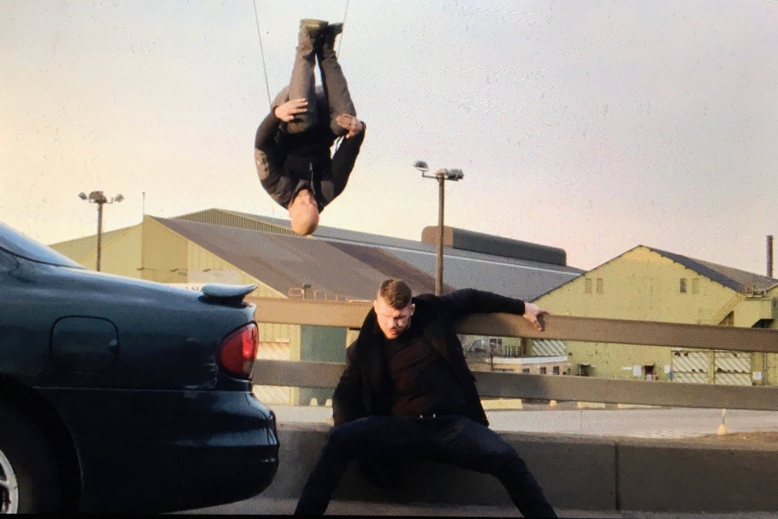 Doubling Vin Diesel on xXx Return of Xander Cage throwing a front tuck off of a 50ft bridge over Michael Bisping
