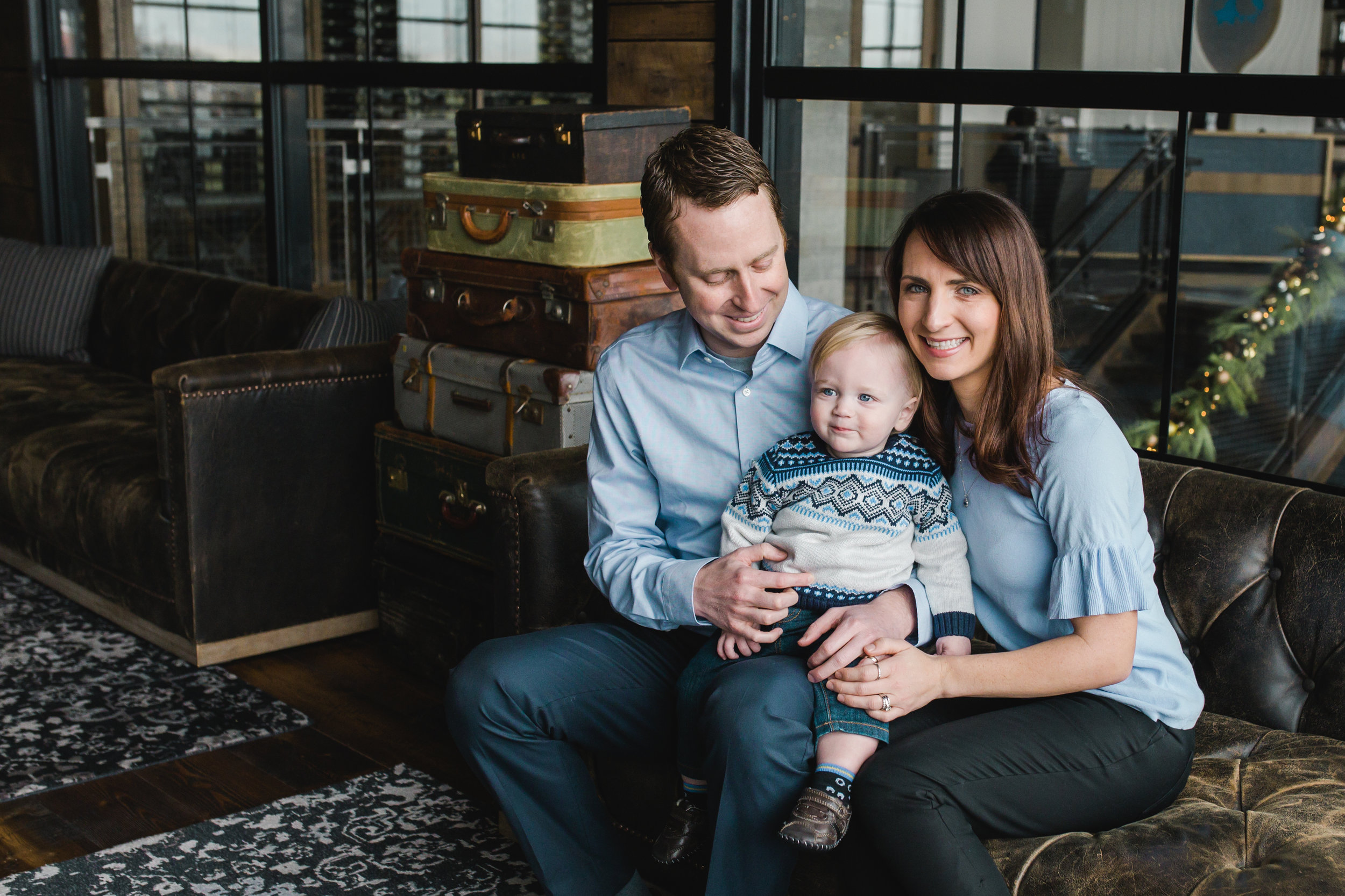 Indianapolis Family posed for family photography in Hotel Lobby