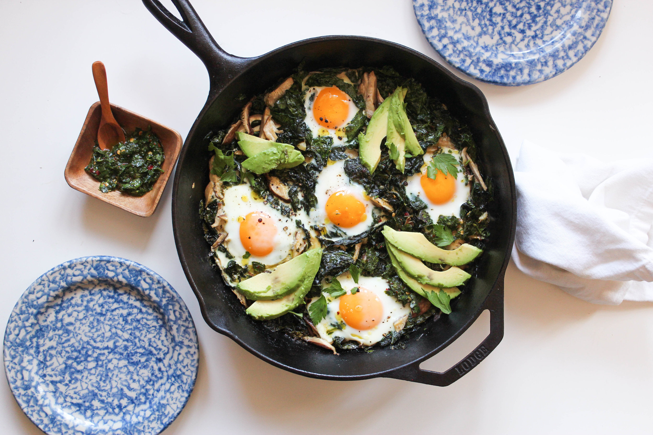A dish inspired by my daily breakfast, this Kale, Mushroom & Chimichurri Baked Eggs dish is packed with the flavors of Spring.