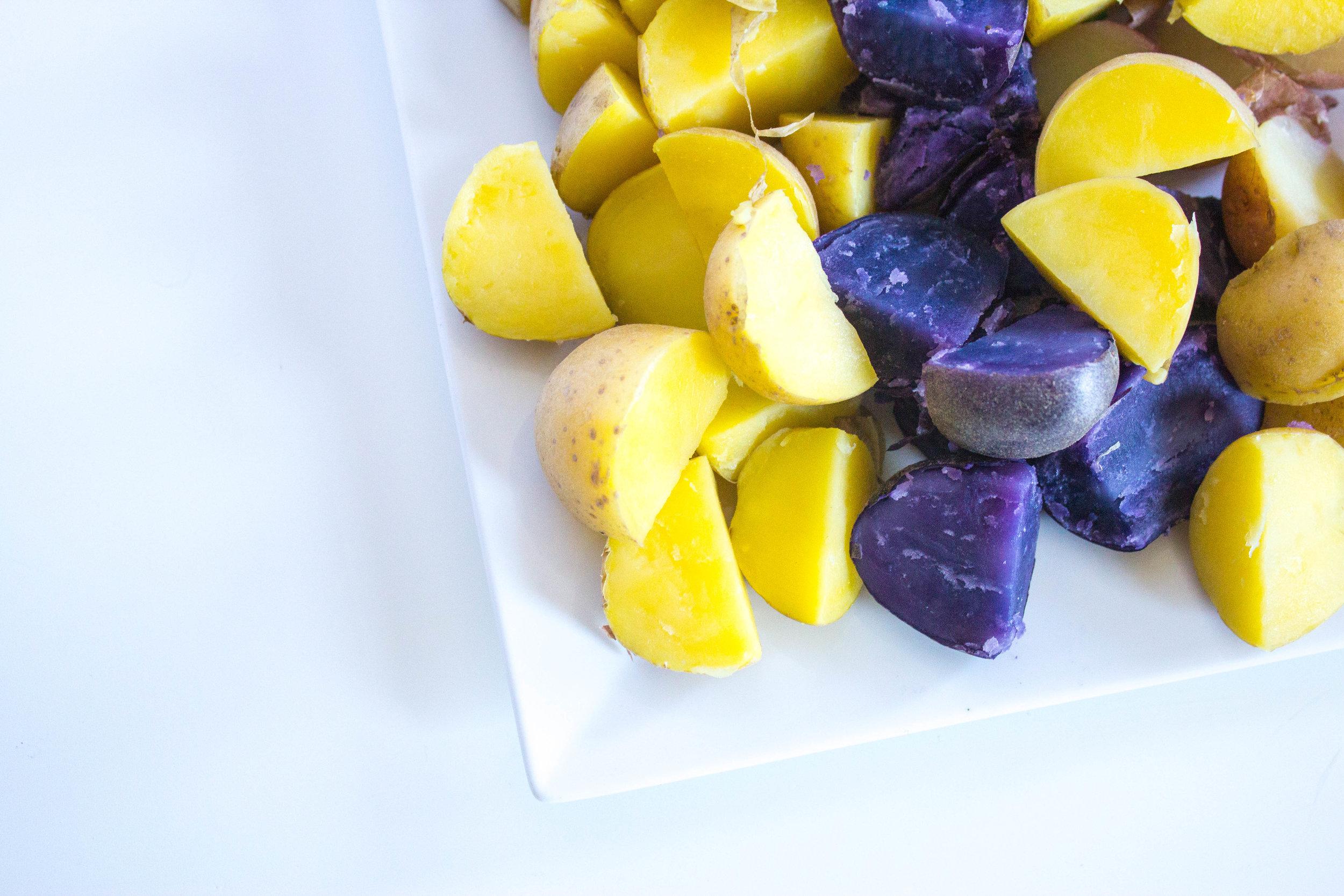 Beautiful jewel-toned new potatoes ready for my German Potato Salad.
