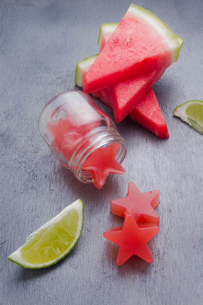 A healthier take on a classic adults-only party treat, Watermelon Gummy Shots.
