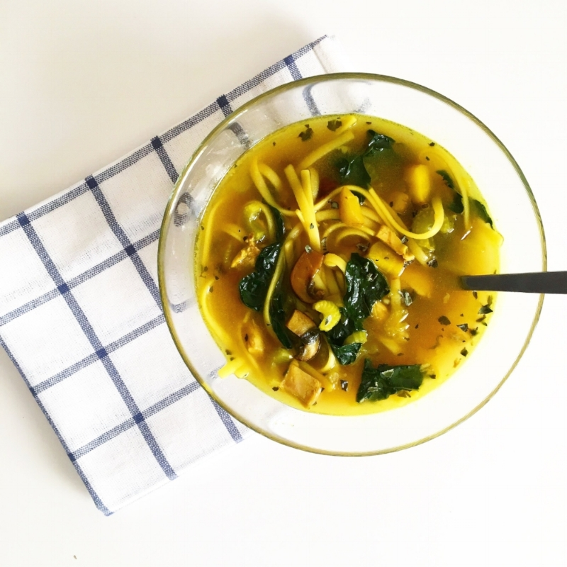 Comforting and simple, this turmeric infused Souped Up Chicken Noodle Soup is just what you need during cold winter months.