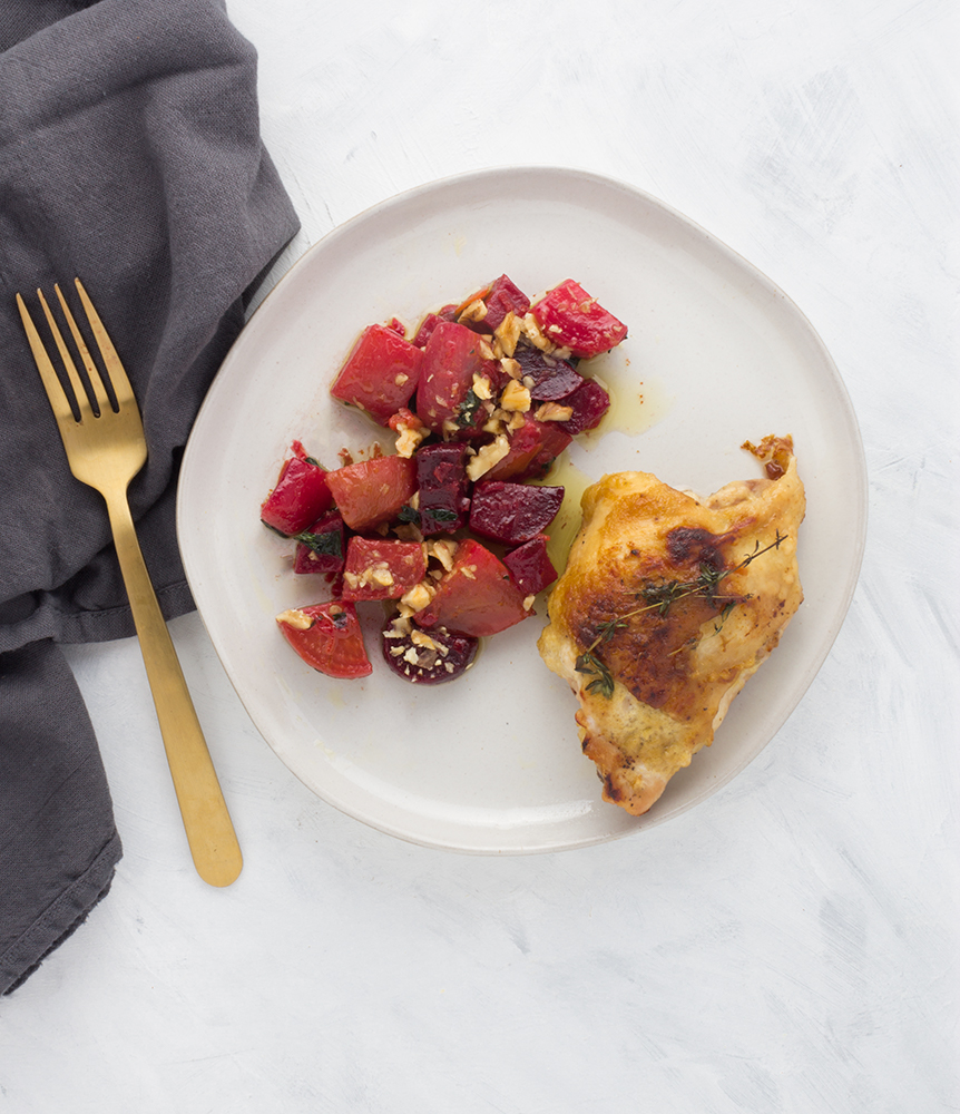 A perfect dish to master the techniques of crispy chicken skin, these Dijon Chicken Thighs with Olive Oil Poached Beets are a perfect match for fall.