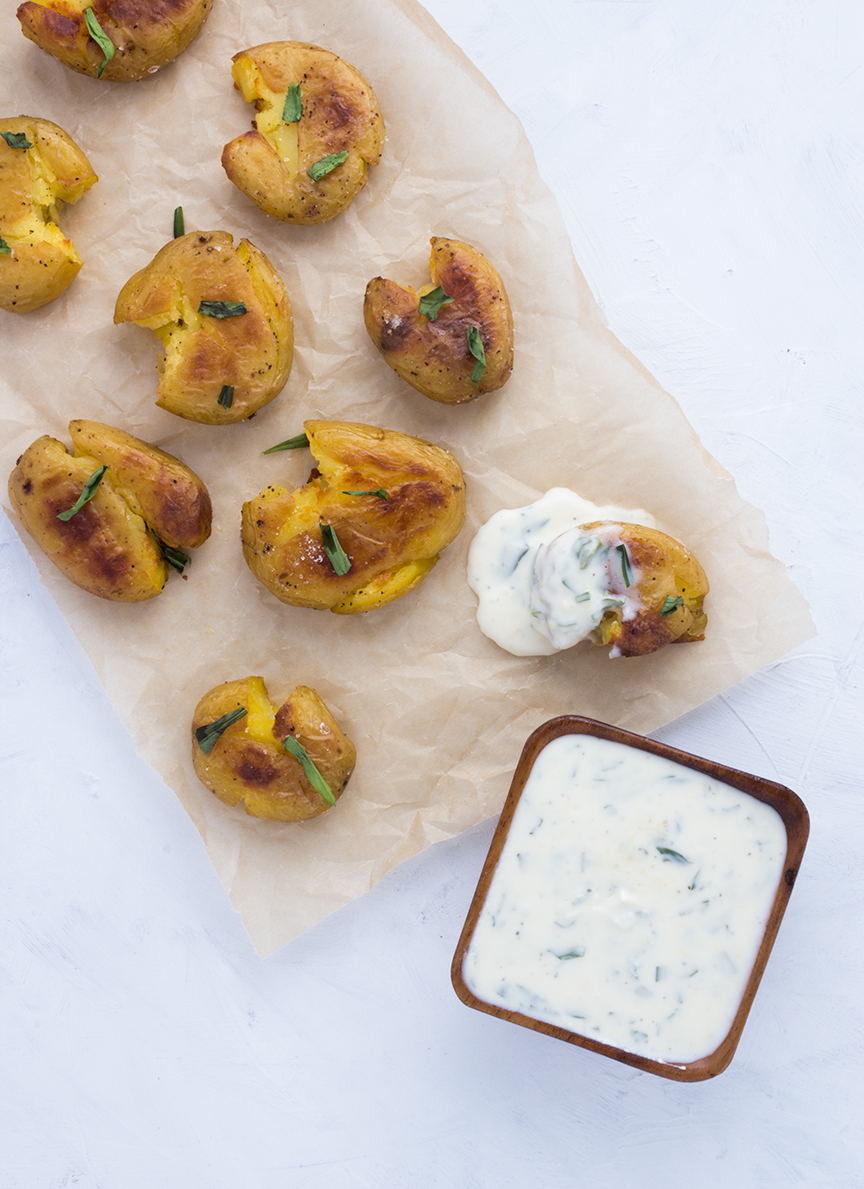 These Crispy Smashed Potatoes with Tarragon & Meyer Lemon Sauce are one of my favorite ways to prepare small potatoes.