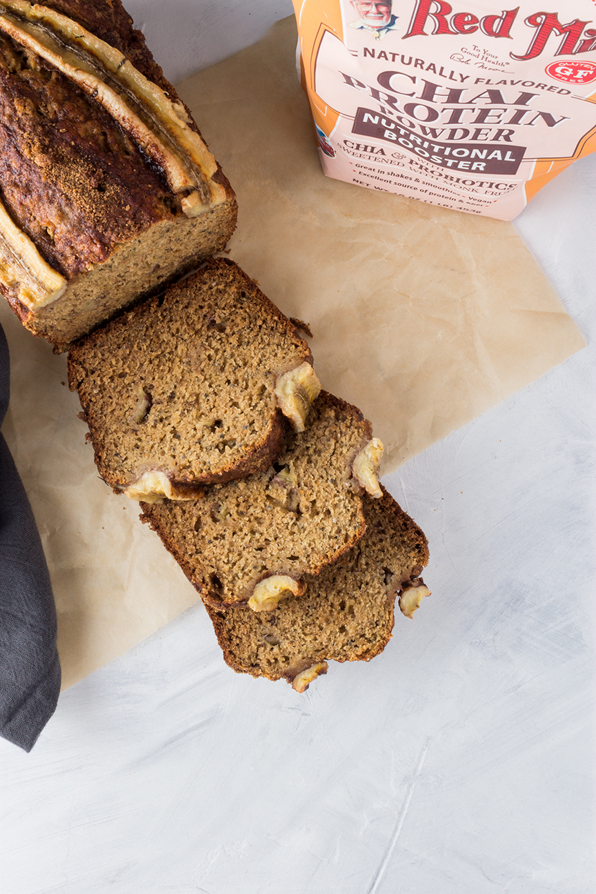 Using Bob's Red Mill Chai Protein Powder means this banana bread comes together quickly and will keep you full a little longer thanks to their unique gluten-free & vegan protein blend.