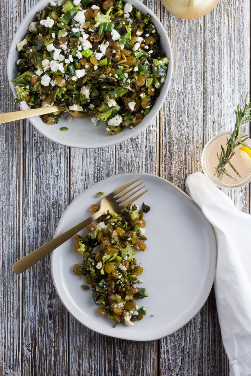 This Roasted Broccoli Salad with Feta is perfect as a holiday side dish or an everyday meal.