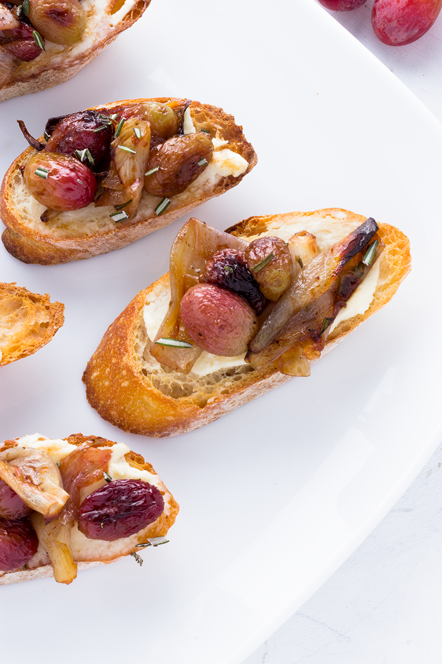 Creamy Marscapone cheese is the perfect first layer for this crostini as it lends a creamy texture and tangy taste to contrast the sweet topping.