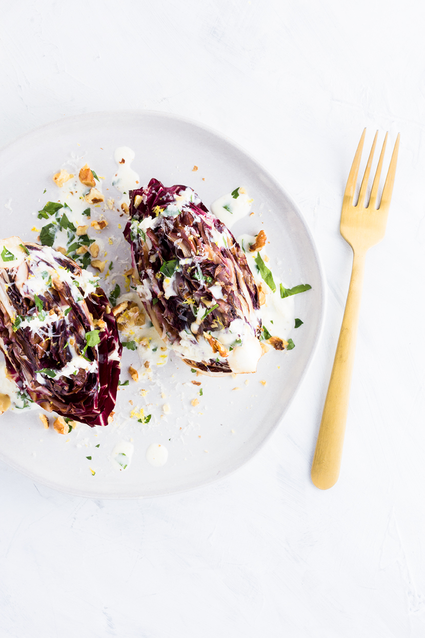 Not your average wedge salad here! Swap boring iceberg lettuce for some charred radicchio and you have a perfect winter side dish.