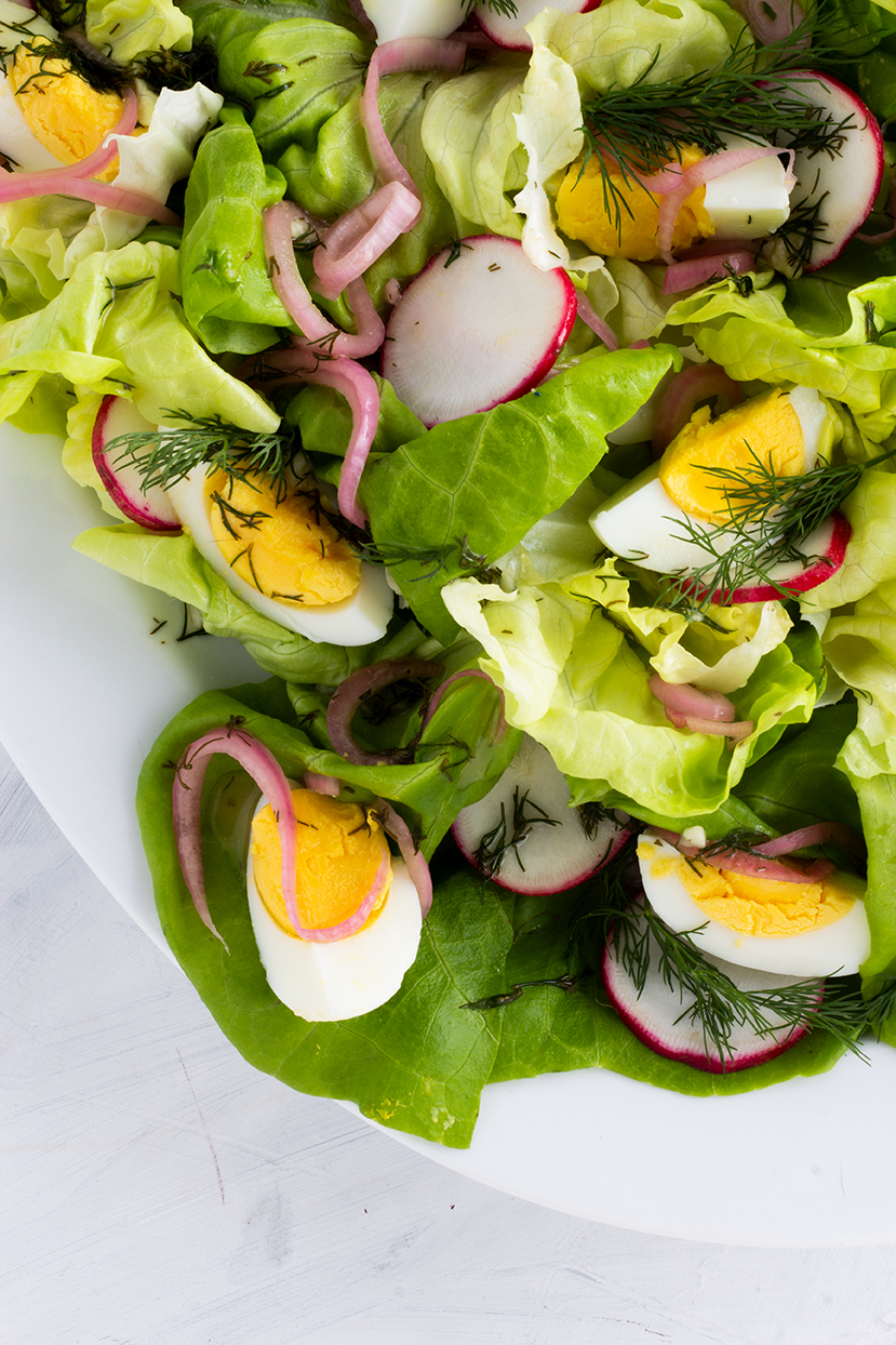 Buttery Bibb lettuce is the base of this seasonal salad and it goes perfectly with crunchy radishes and pickled shallot which add some sharpness.