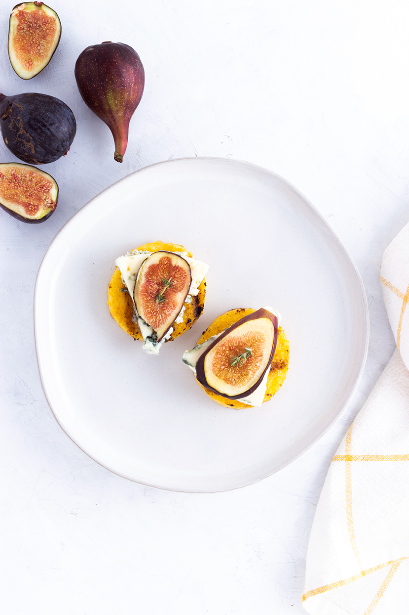 Grilled Polenta Bites with Blue Cheese, Figs & Honey
