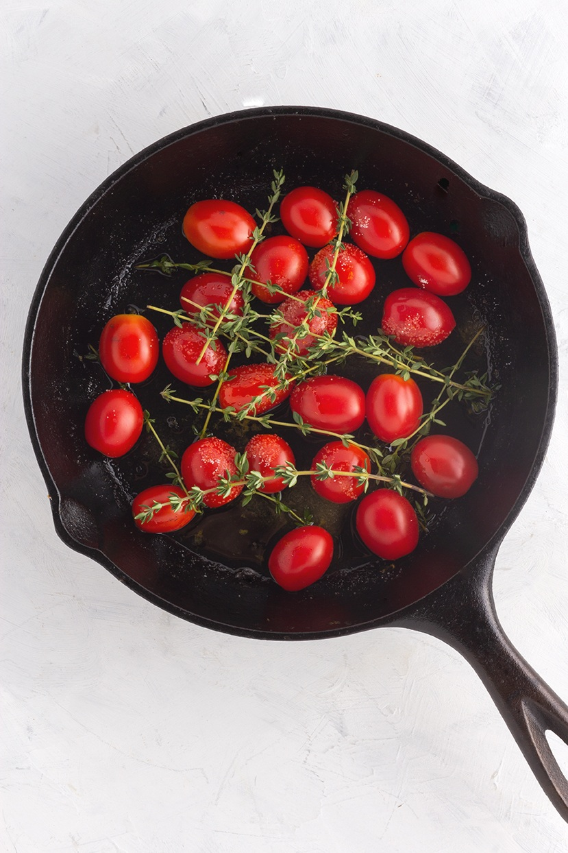 Before : Save time by simply placing thyme sprigs on top of cherry tomatoes before roasting.