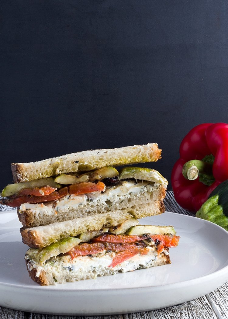 Grilled Vegetable Sandwich with Garlic & Herb Chèvre is the ultimate vegetarian summer sandwich.