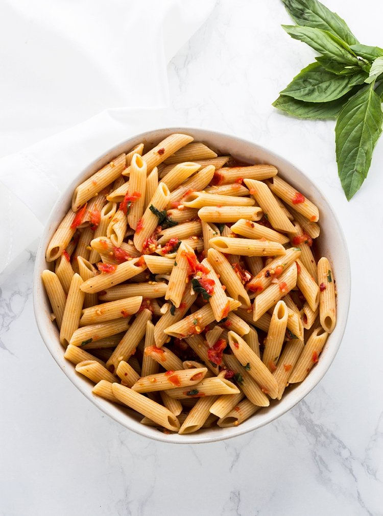 You don't need much to highlight the beauty of fresh summer tomatoes like in this Summer Tomato Pasta dish which uses the tomatoes raw along with fresh basil.