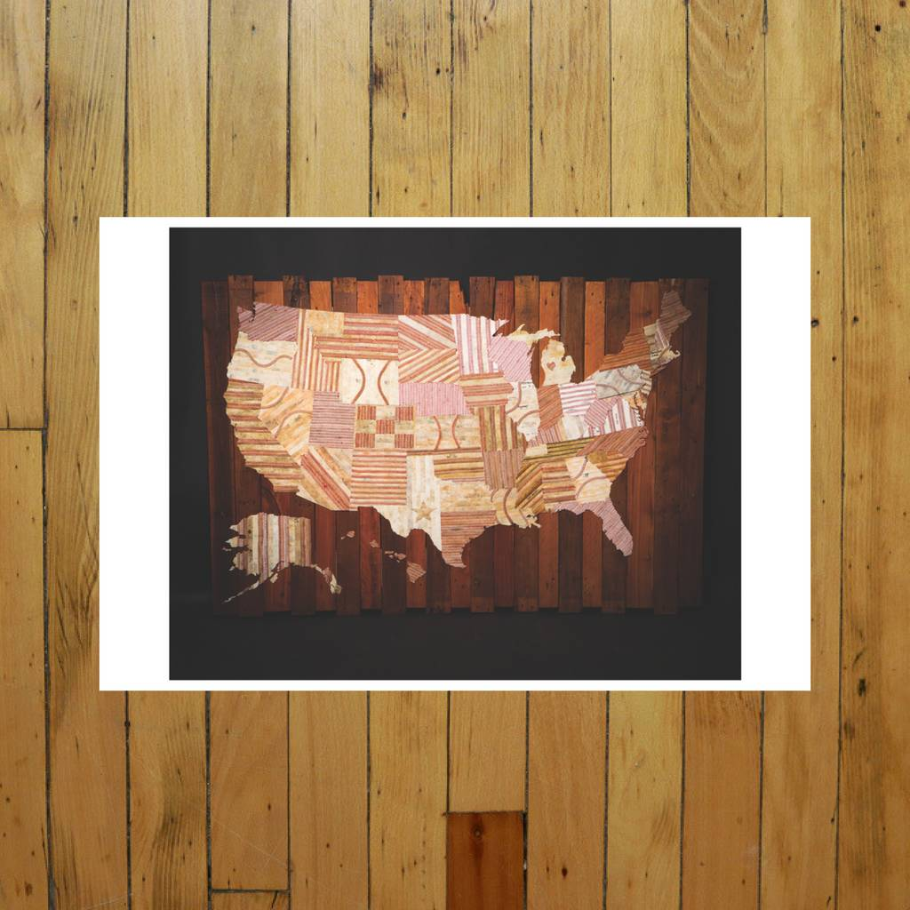AMERICA AT THE SEAM PRINT OF MAP